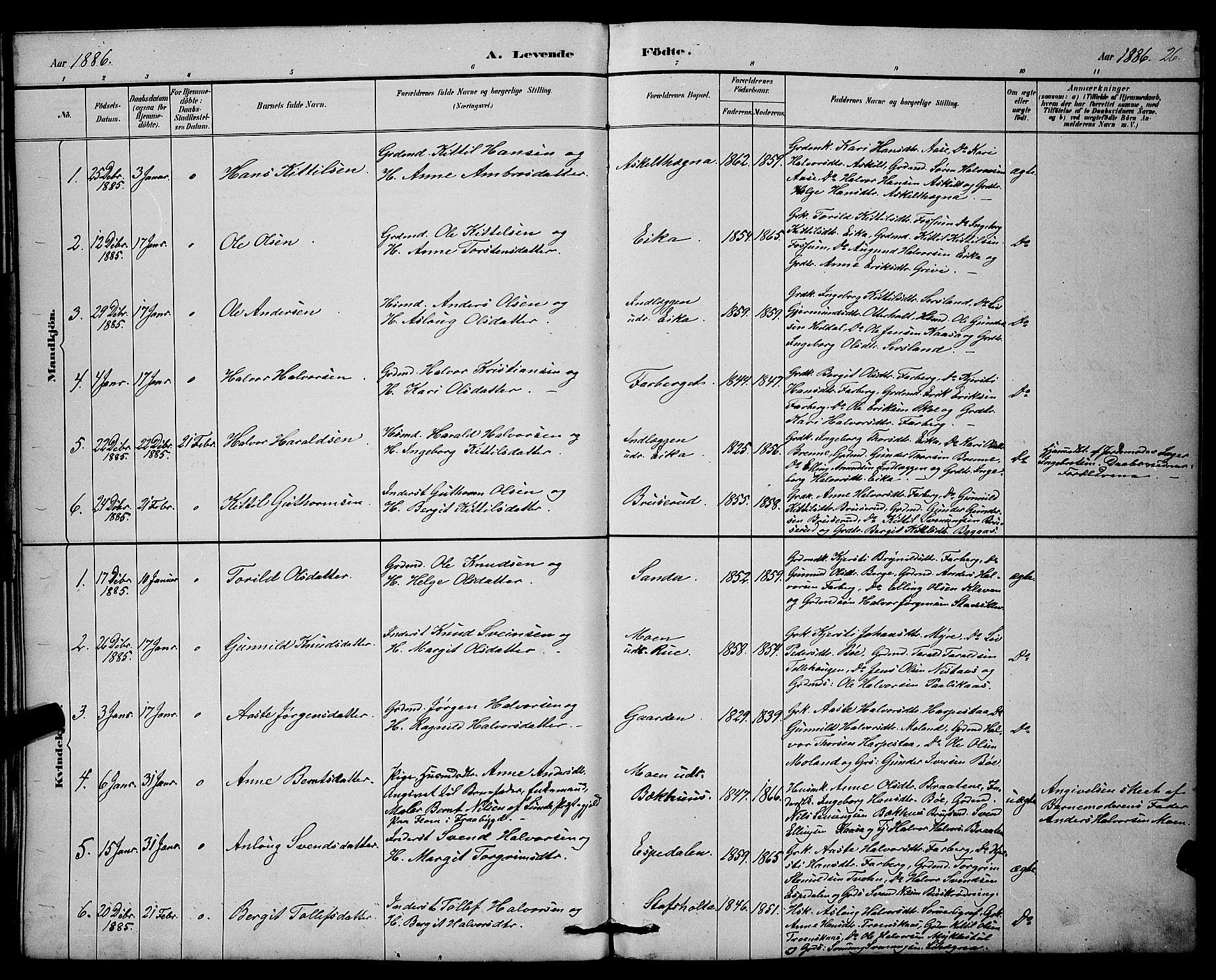 SAKO, Bø kirkebøker, G/Ga/L0005: Klokkerbok nr. 5, 1883-1897, s. 26