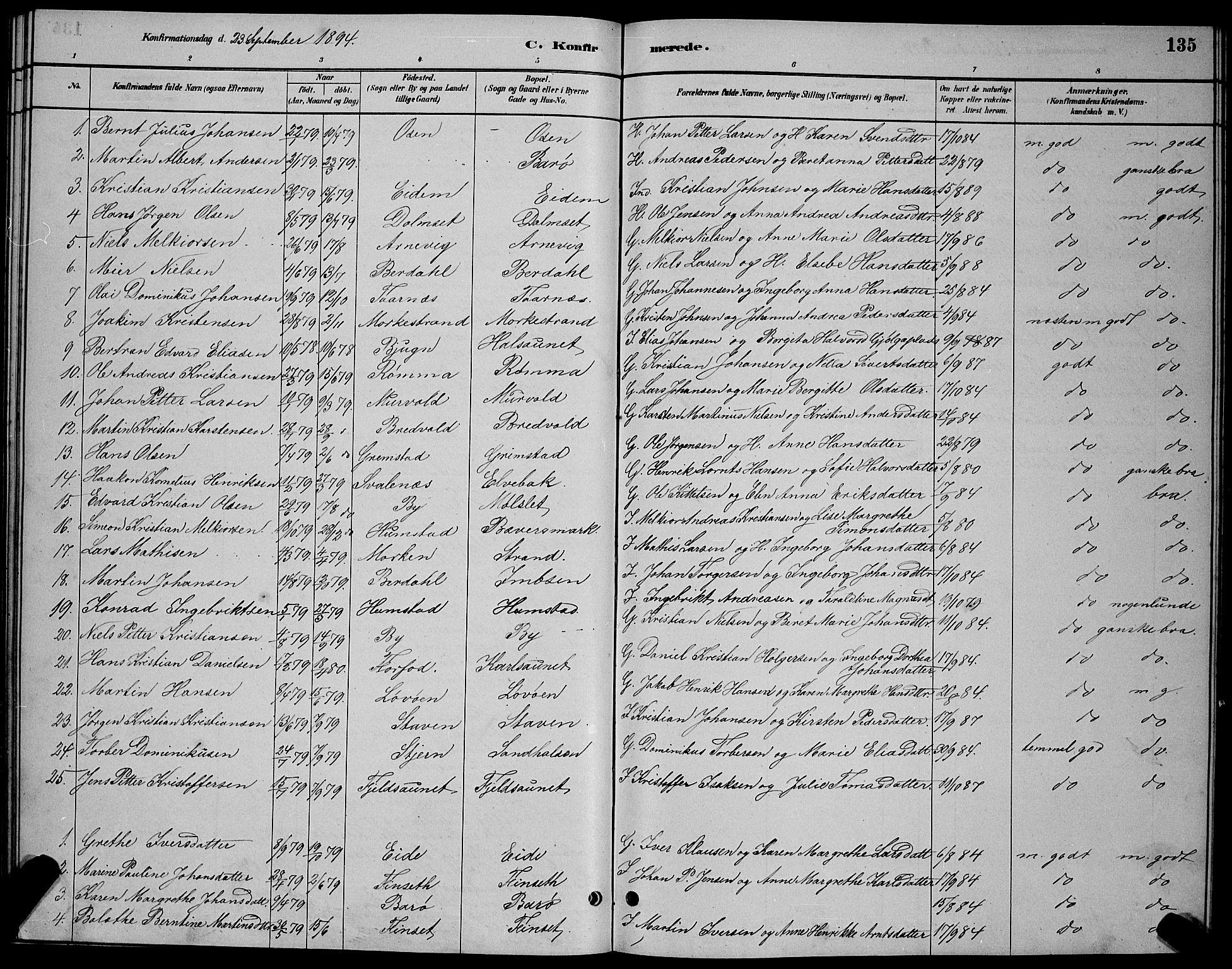SAT, Ministerialprotokoller, klokkerbøker og fødselsregistre - Sør-Trøndelag, 655/L0687: Klokkerbok nr. 655C03, 1880-1898, s. 135