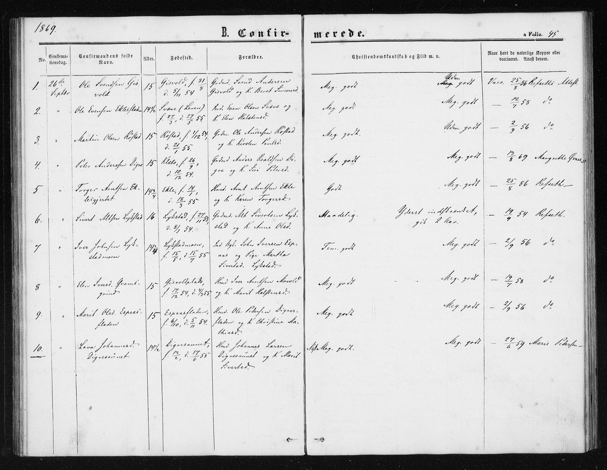 SAT, Ministerialprotokoller, klokkerbøker og fødselsregistre - Sør-Trøndelag, 608/L0333: Ministerialbok nr. 608A02, 1862-1876, s. 45