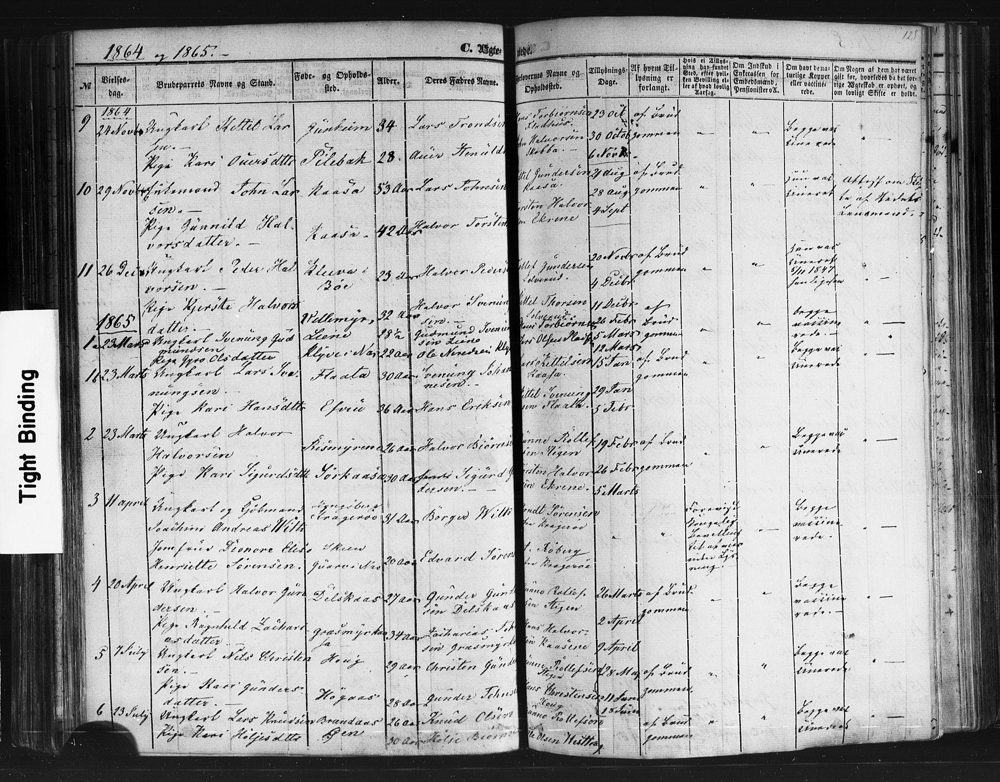 SAKO, Sauherad kirkebøker, F/Fb/L0001: Ministerialbok nr. II 1, 1851-1877, s. 128