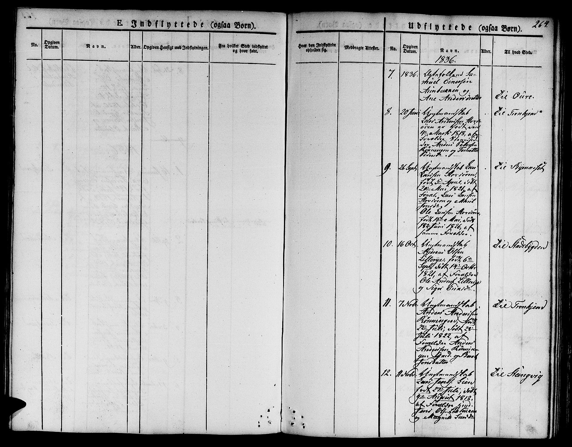 SAT, Ministerialprotokoller, klokkerbøker og fødselsregistre - Sør-Trøndelag, 668/L0804: Ministerialbok nr. 668A04, 1826-1839, s. 264