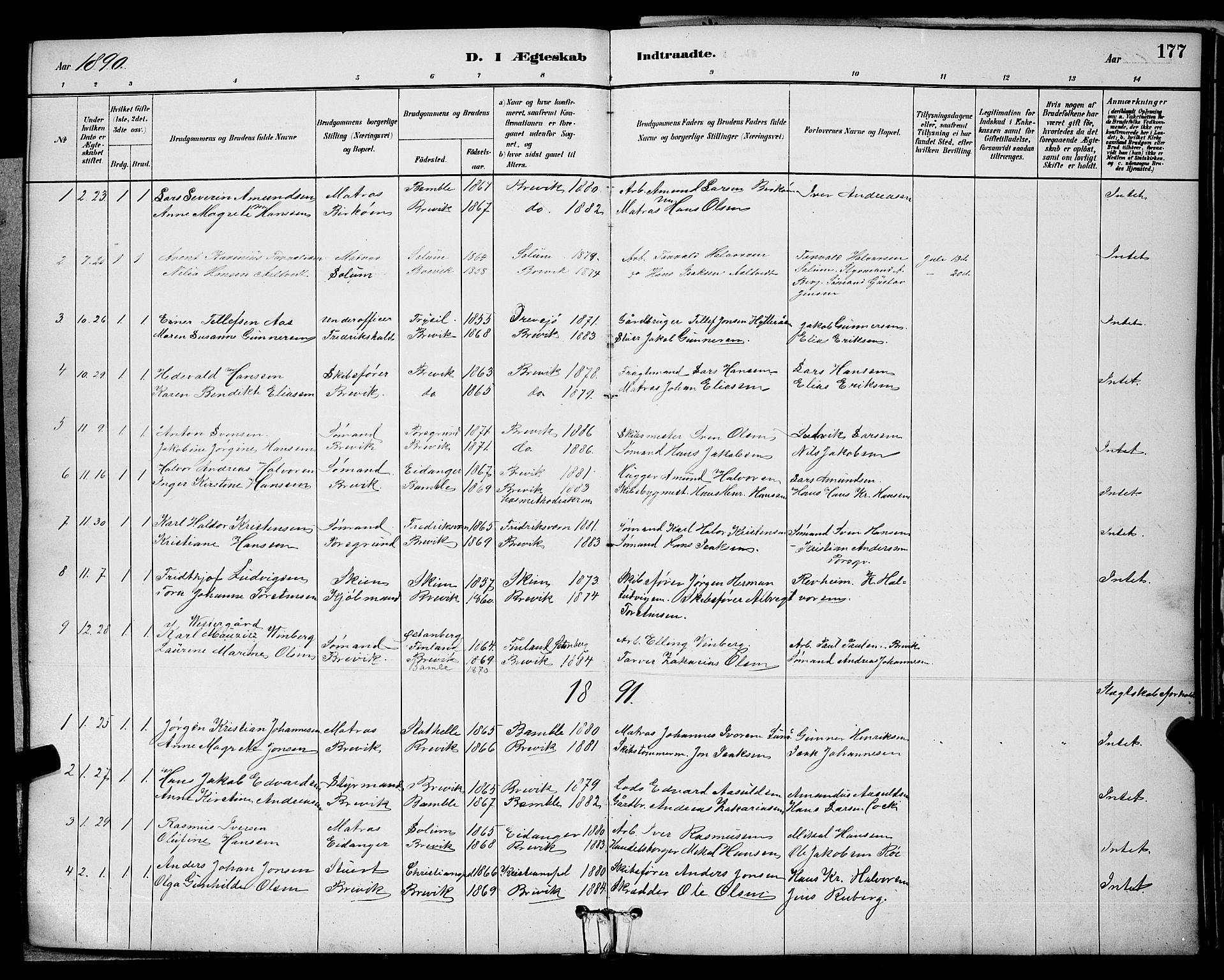 SAKO, Brevik kirkebøker, G/Ga/L0004: Klokkerbok nr. 4, 1882-1900, s. 177