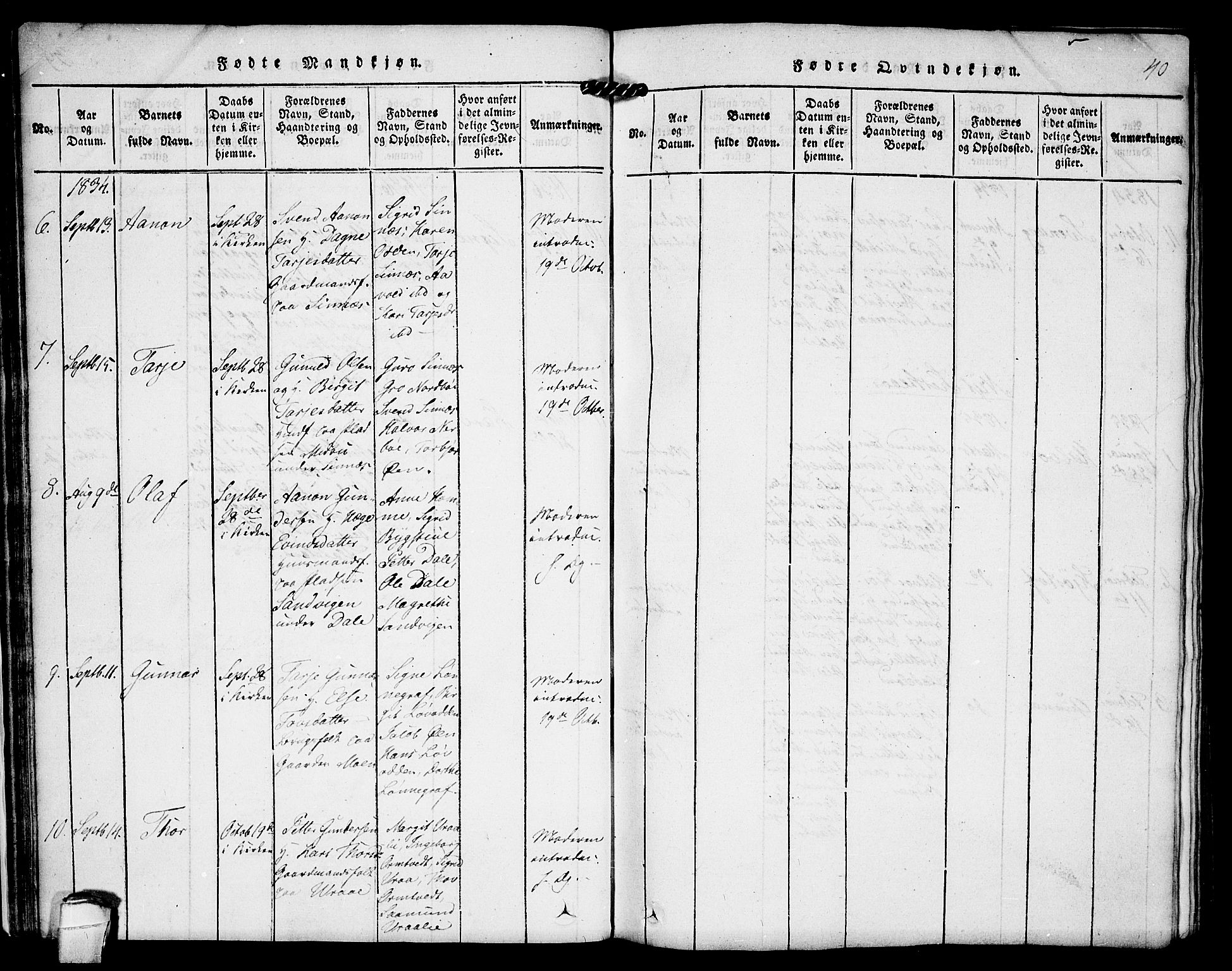 SAKO, Kviteseid kirkebøker, F/Fc/L0001: Ministerialbok nr. III 1, 1815-1836, s. 40