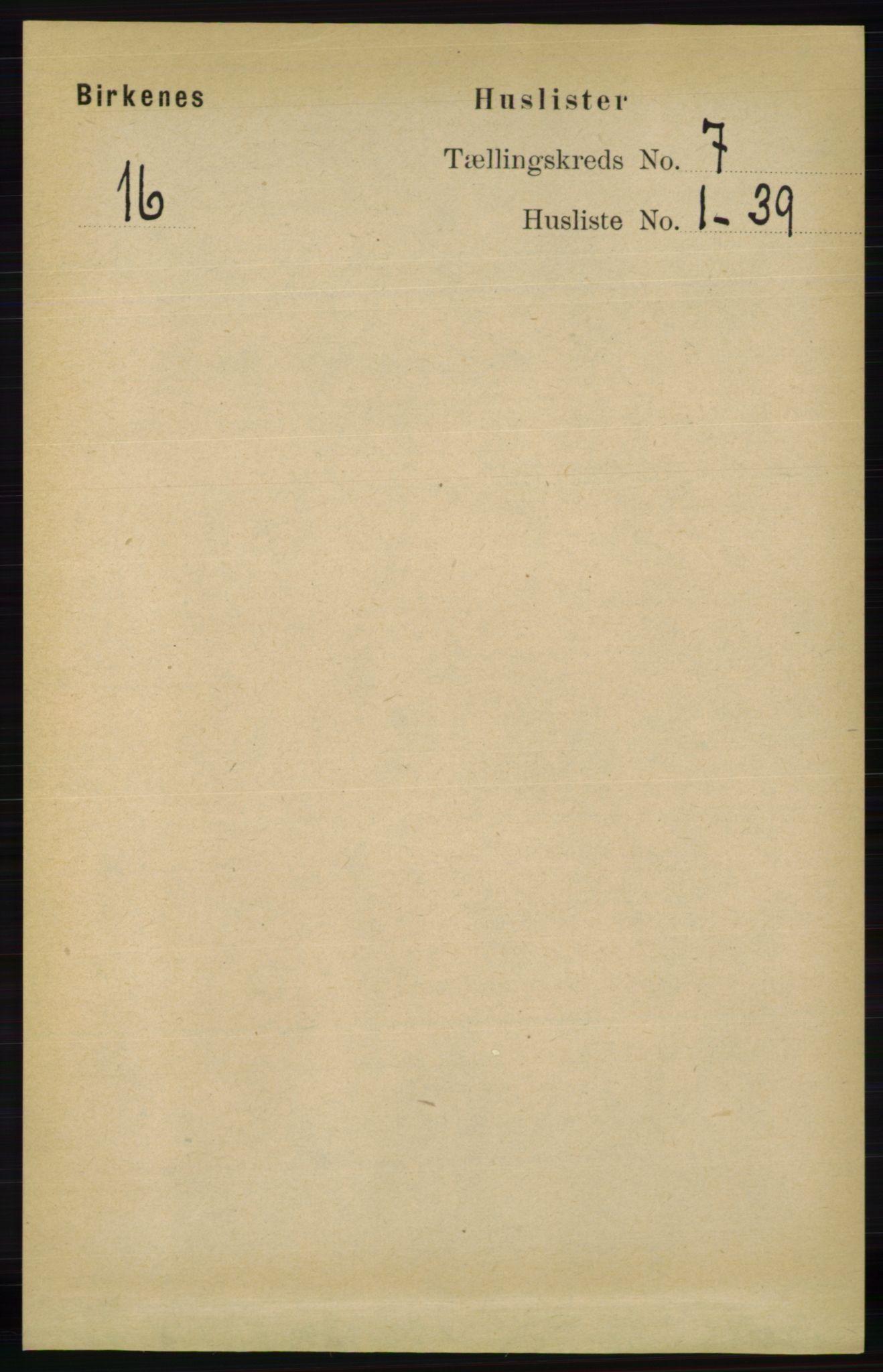 RA, Folketelling 1891 for 0928 Birkenes herred, 1891, s. 1941