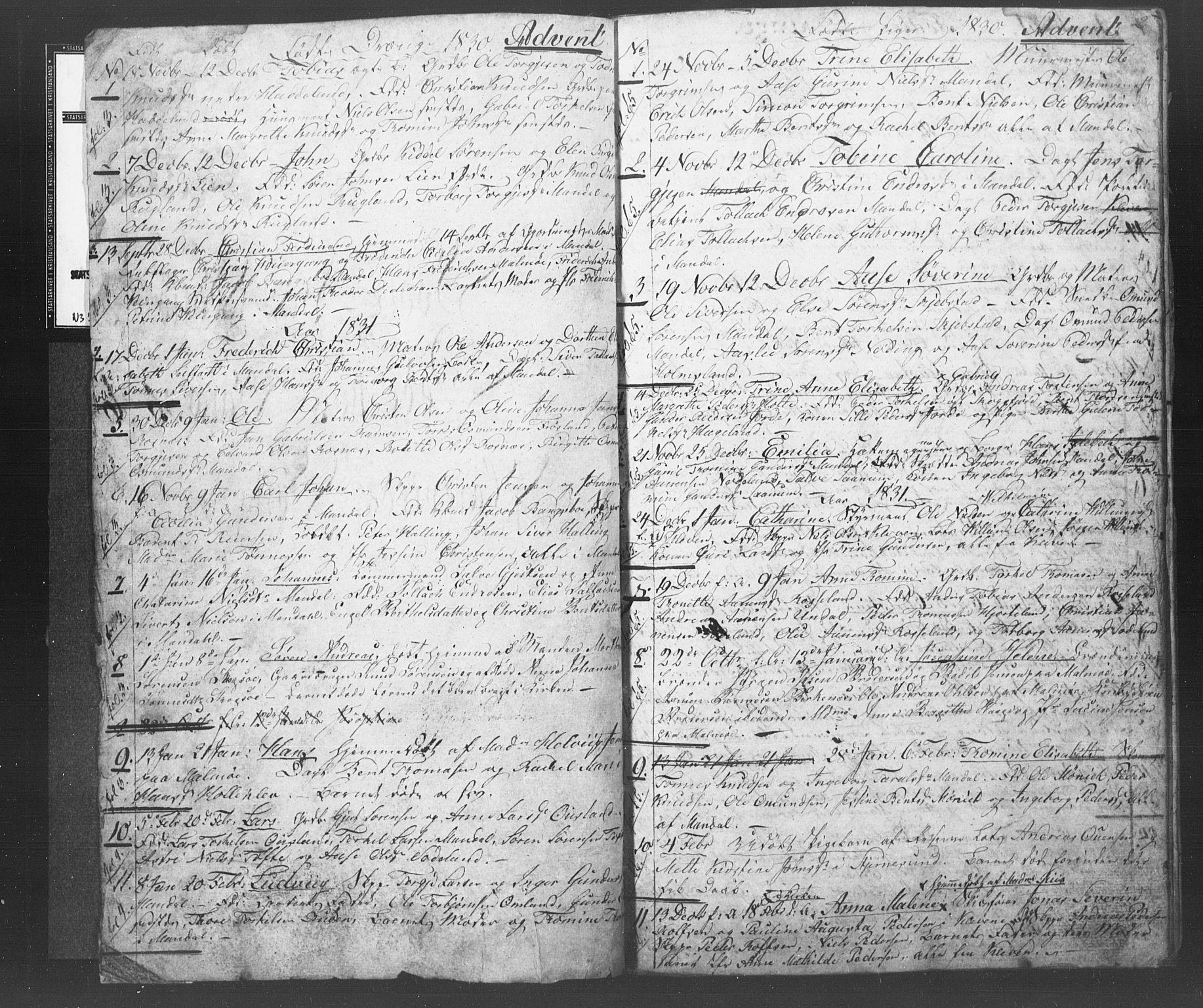 SAK, Mandal sokneprestkontor, F/Fb/Fba/L0003: Klokkerbok nr. B 1B, 1831-1834, s. 2