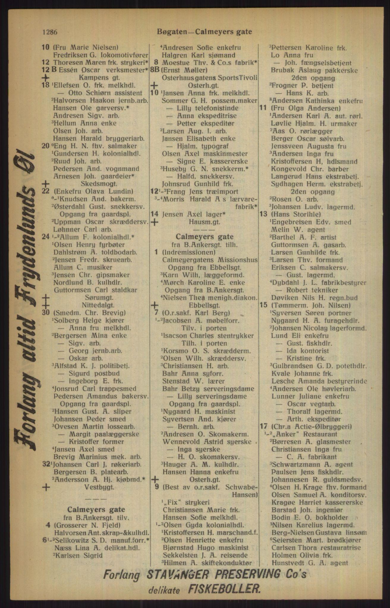 RA, Kristiania adressebok (publikasjon)*, 1915, s. 1286