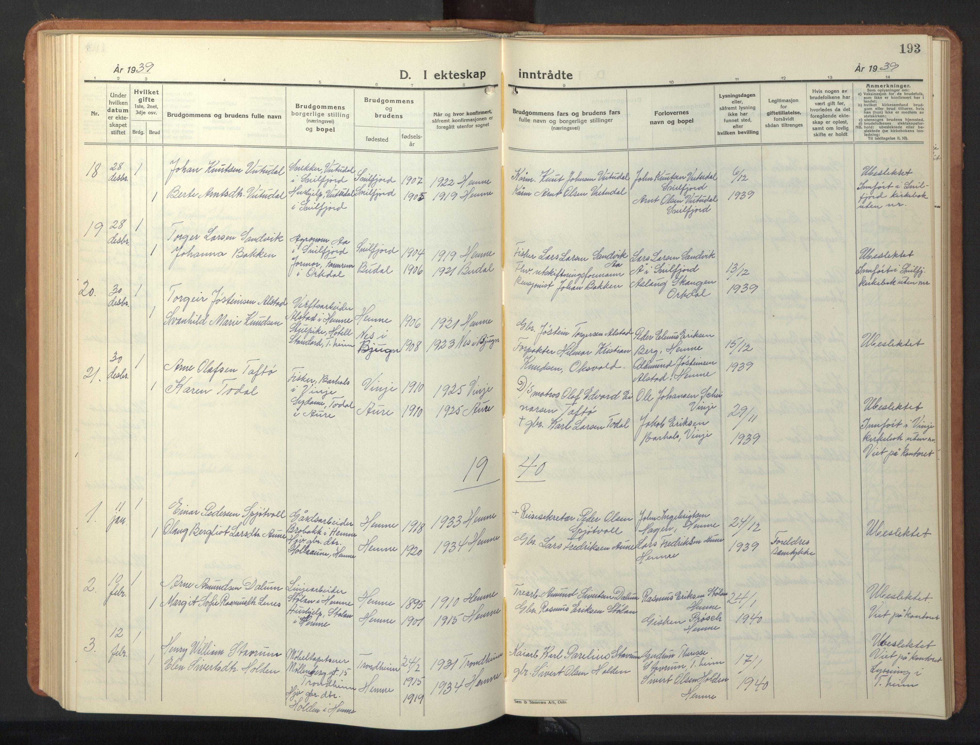 SAT, Ministerialprotokoller, klokkerbøker og fødselsregistre - Sør-Trøndelag, 630/L0508: Klokkerbok nr. 630C06, 1933-1950, s. 193