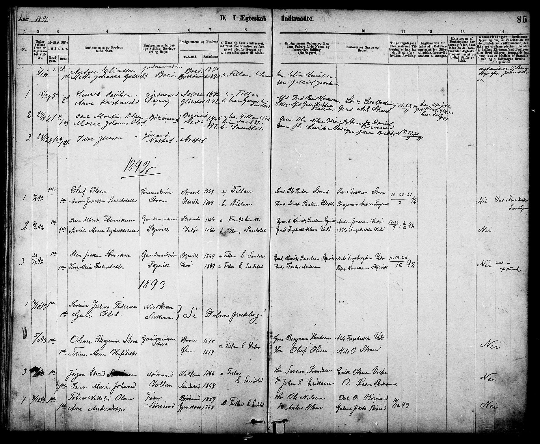 SAT, Ministerialprotokoller, klokkerbøker og fødselsregistre - Sør-Trøndelag, 639/L0573: Klokkerbok nr. 639C01, 1890-1905, s. 85
