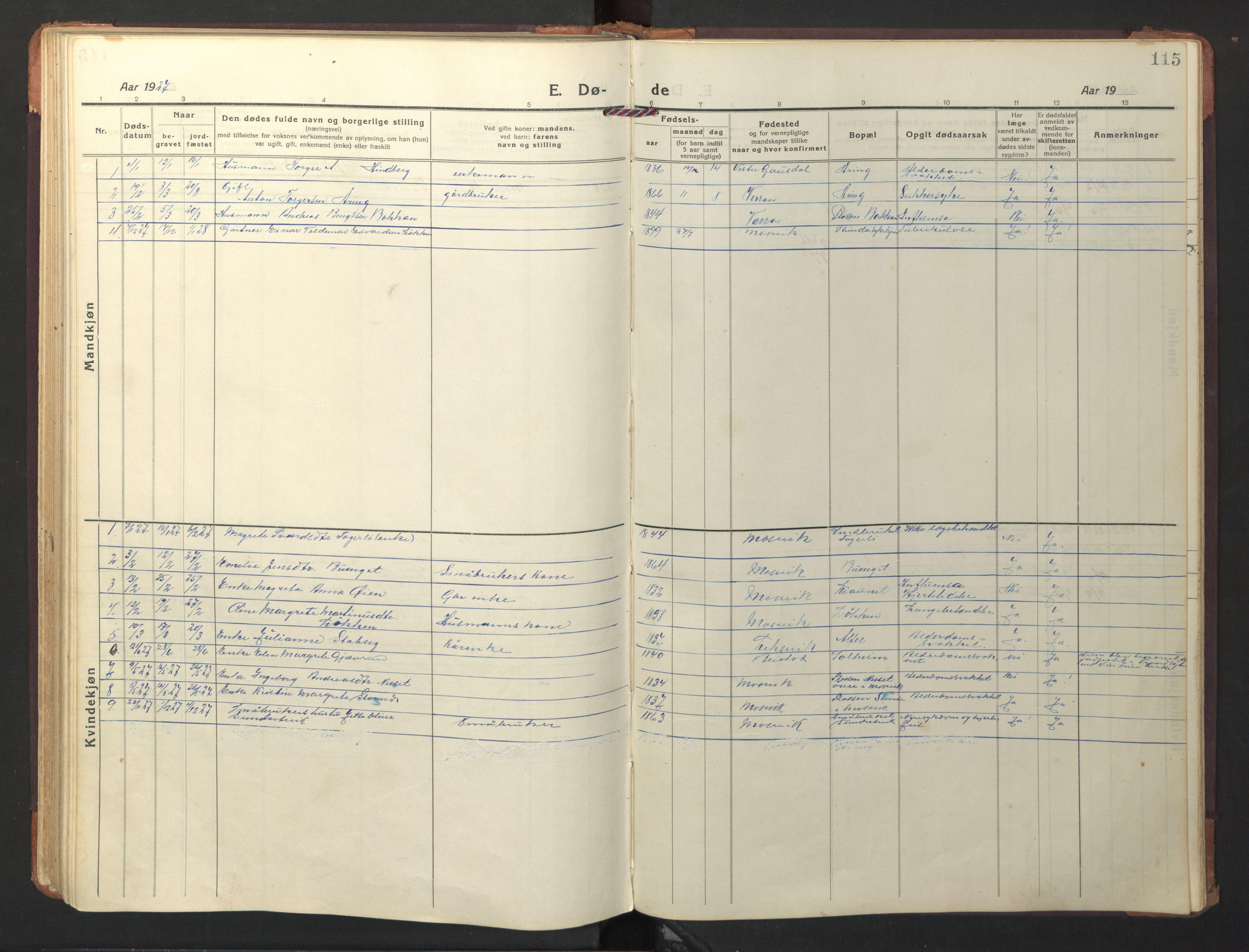 SAT, Ministerialprotokoller, klokkerbøker og fødselsregistre - Nord-Trøndelag, 733/L0328: Klokkerbok nr. 733C03, 1919-1966, s. 115