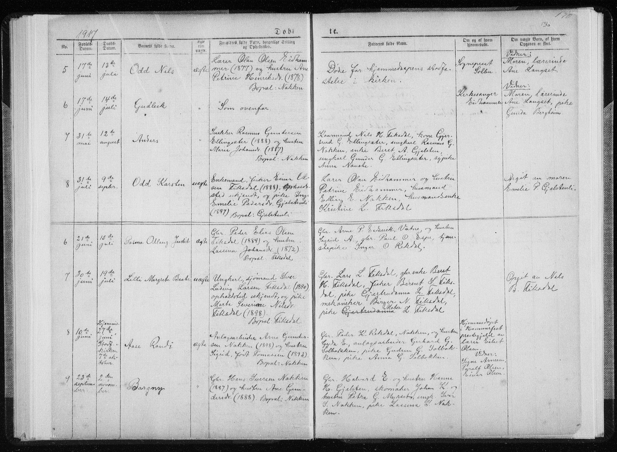 SAT, Ministerialprotokoller, klokkerbøker og fødselsregistre - Møre og Romsdal, 540/L0541: Klokkerbok nr. 540C01, 1867-1920, s. 136