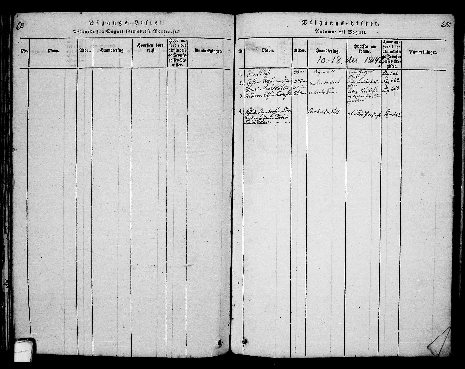 SAKO, Bamble kirkebøker, G/Ga/L0005: Klokkerbok nr. I 5, 1814-1855, s. 613-614