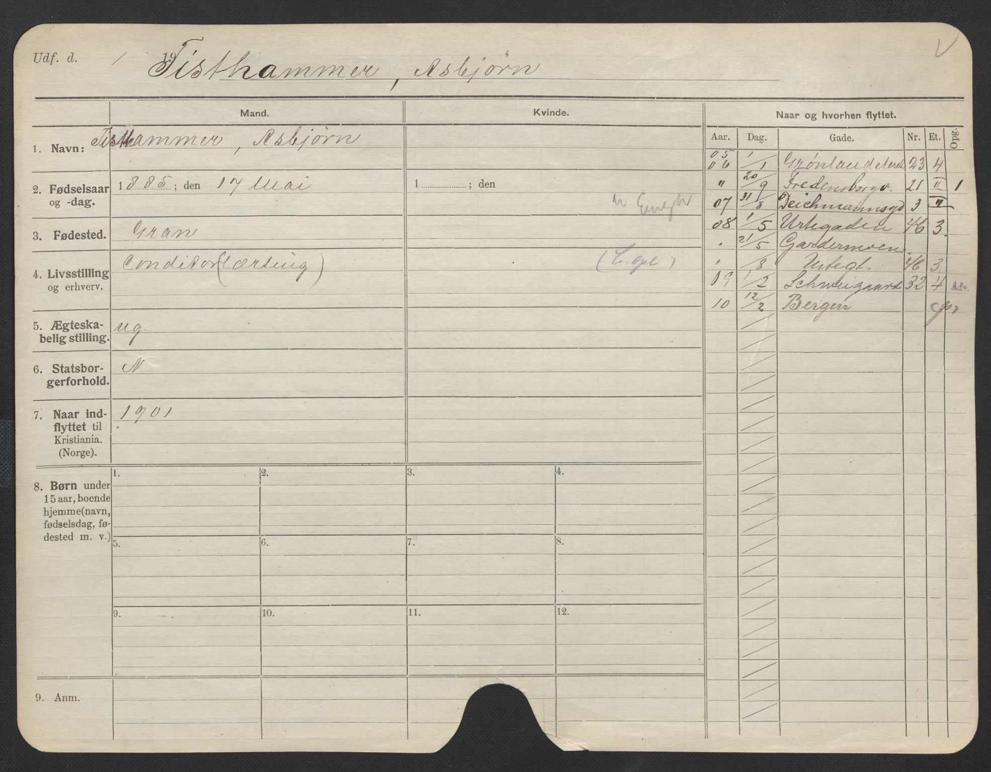 SAO, Oslo folkeregister, Registerkort, F/Fa/Fac/L0011: Menn, 1906-1914, s. 101a