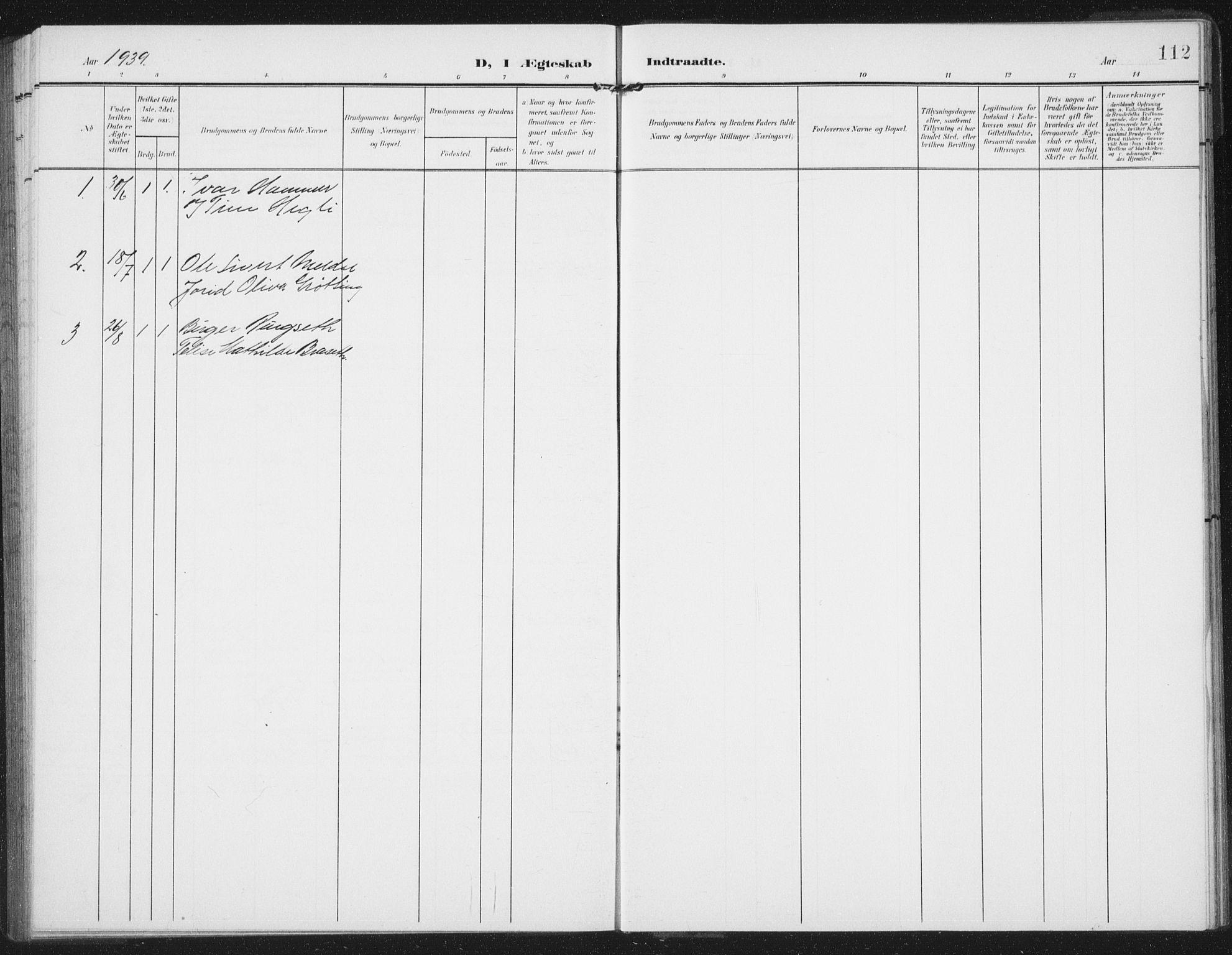 SAT, Ministerialprotokoller, klokkerbøker og fødselsregistre - Nord-Trøndelag, 747/L0460: Klokkerbok nr. 747C02, 1908-1939, s. 112