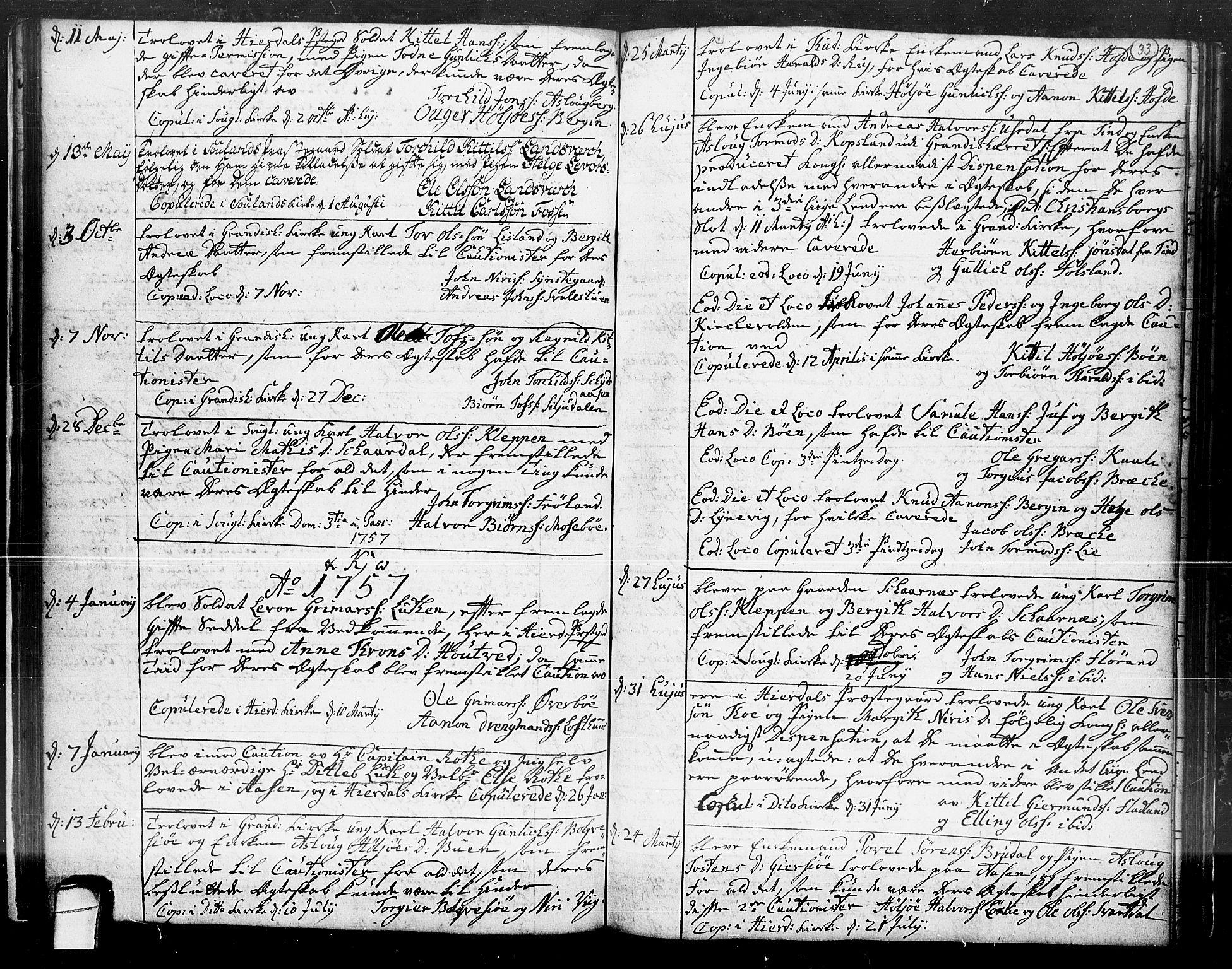 SAKO, Hjartdal kirkebøker, F/Fa/L0004: Ministerialbok nr. I 4, 1727-1795, s. 33