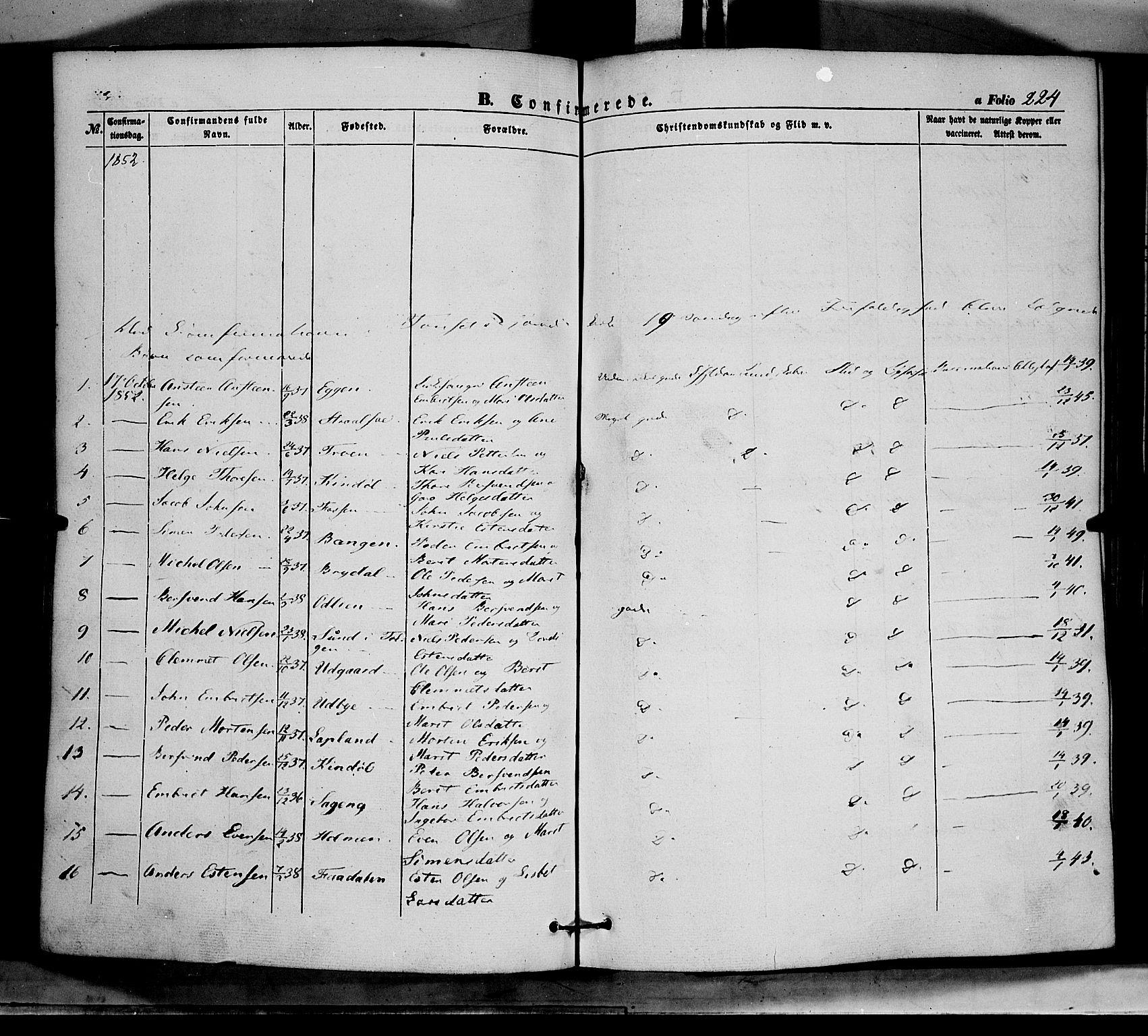SAH, Tynset prestekontor, Ministerialbok nr. 20, 1848-1862, s. 224