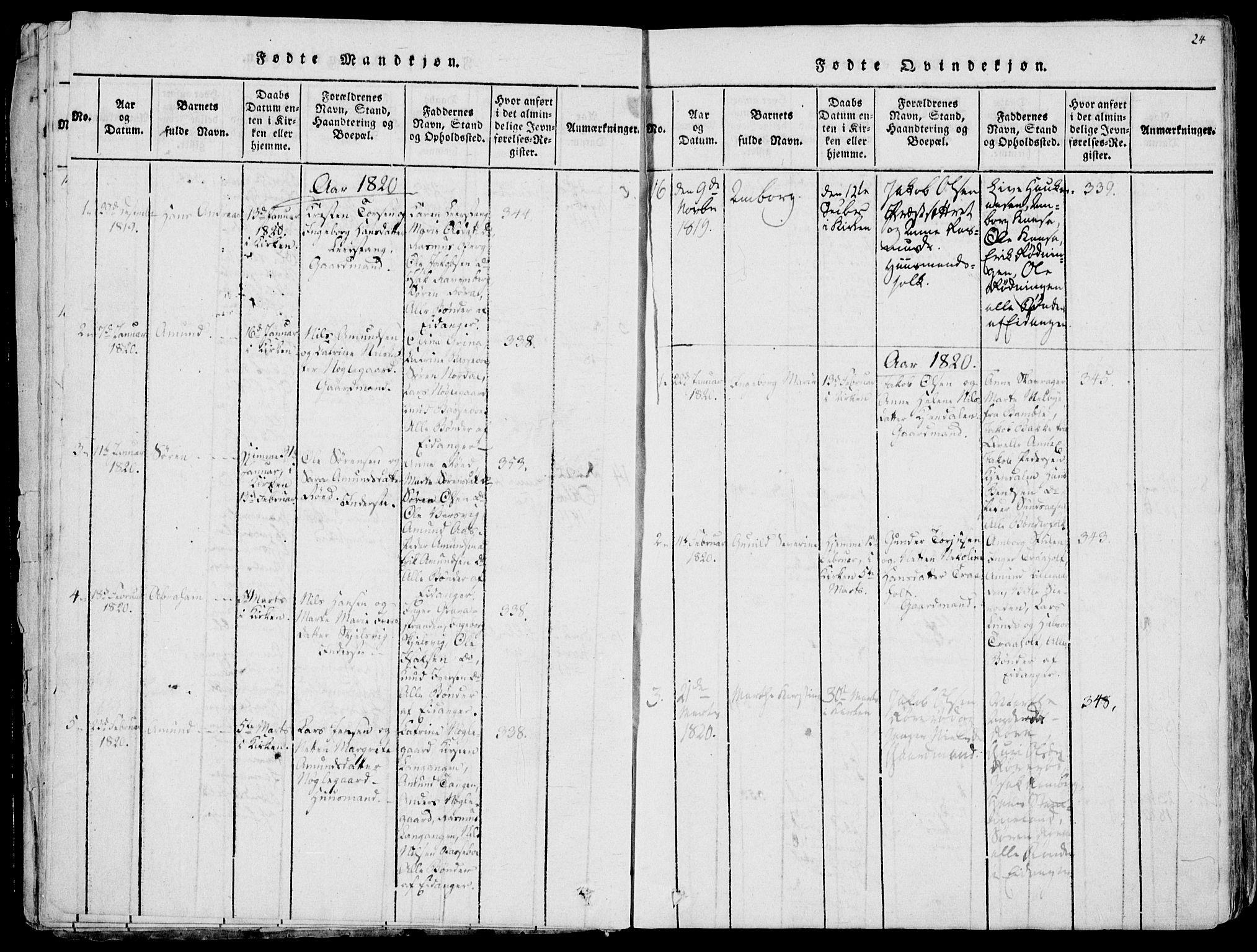 SAKO, Eidanger kirkebøker, F/Fa/L0007: Ministerialbok nr. 7, 1814-1831, s. 24