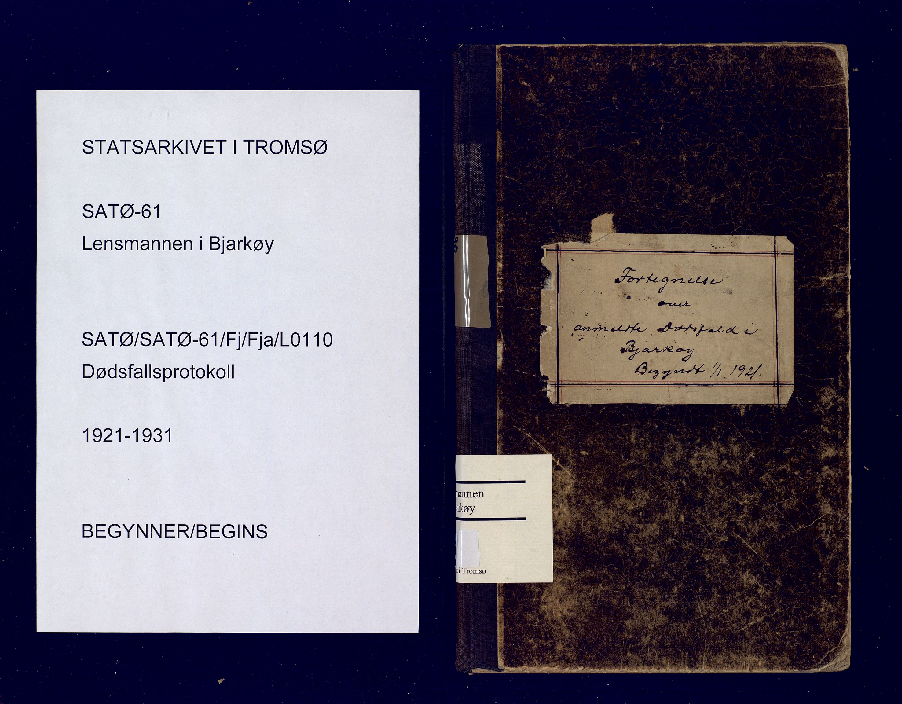 SATØ, Bjarkøy lensmannskontor, F/Fj/Fja/L0110: Dødsfallsprotokoll, med register løst i boken, 1921-1931
