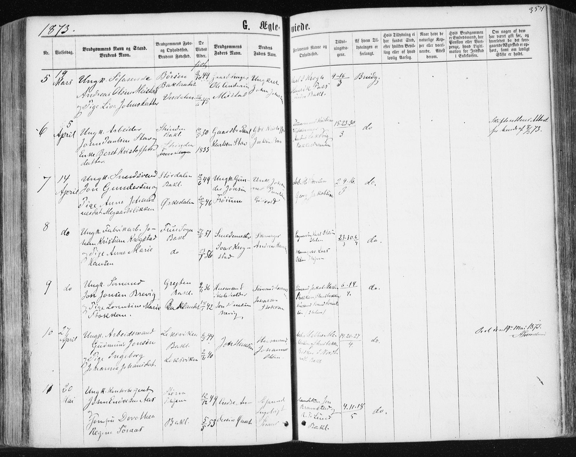 SAT, Ministerialprotokoller, klokkerbøker og fødselsregistre - Sør-Trøndelag, 604/L0186: Ministerialbok nr. 604A07, 1866-1877, s. 357
