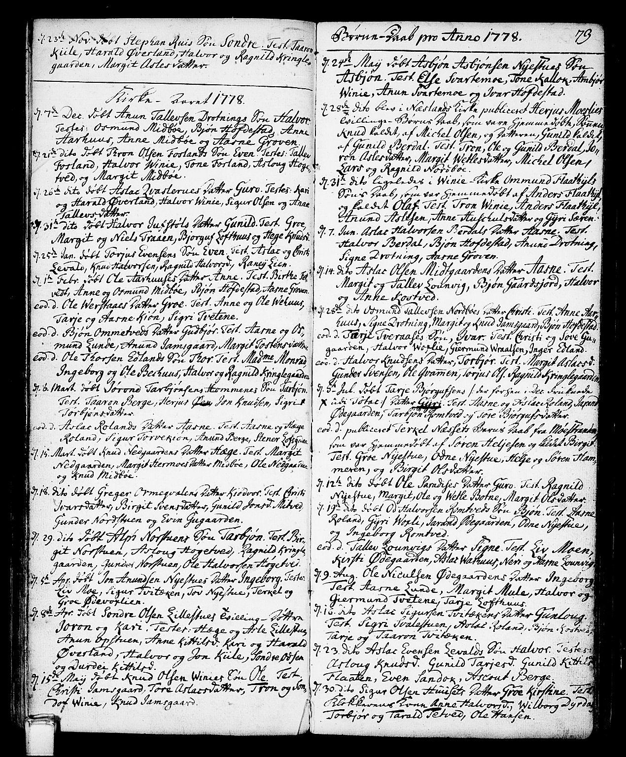 SAKO, Vinje kirkebøker, F/Fa/L0002: Ministerialbok nr. I 2, 1767-1814, s. 73