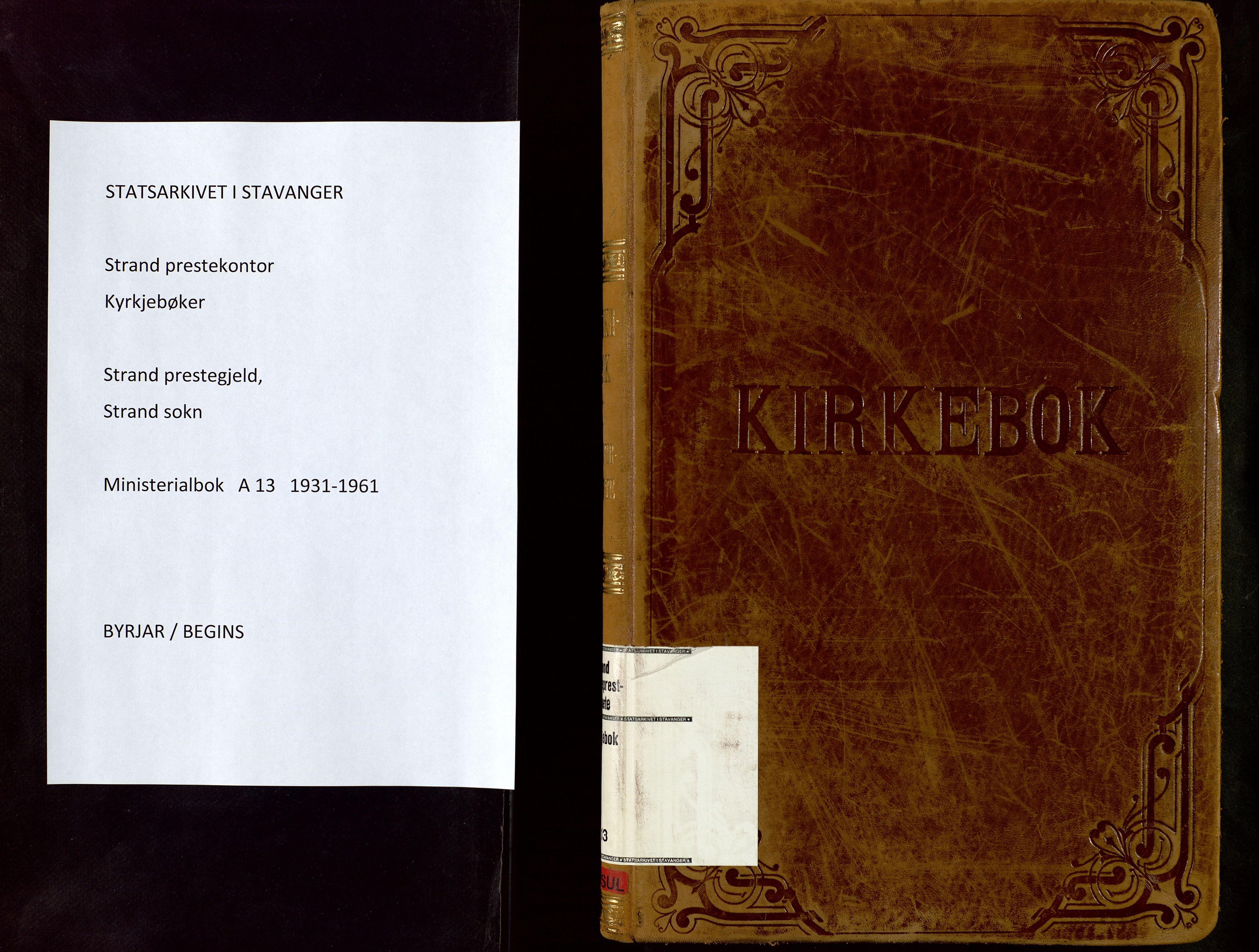 SAST, Strand sokneprestkontor, H/Ha/Haa/L0013: Ministerialbok nr. A 13, 1931-1961