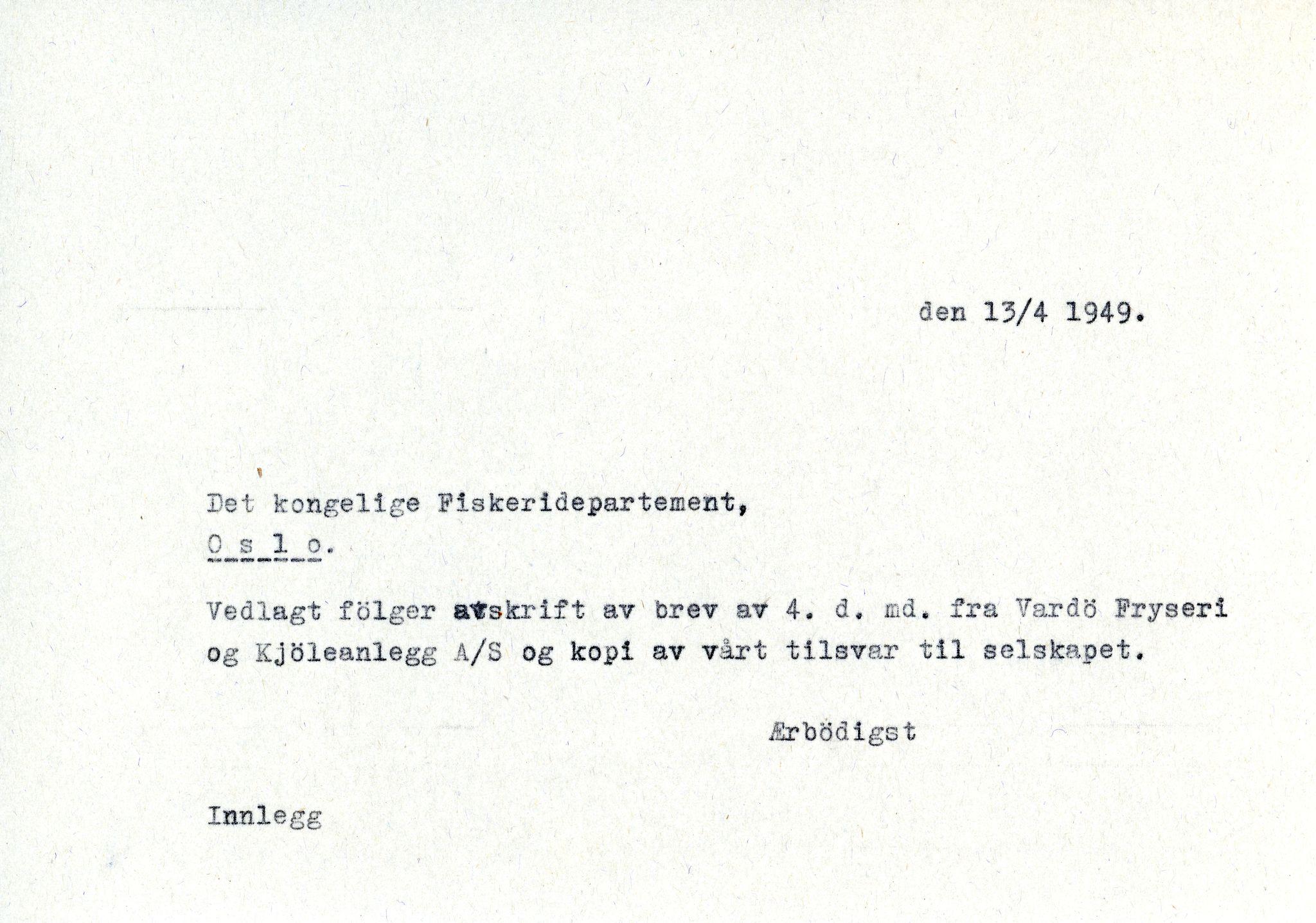 VAMU, Vardø Fiskersamvirkelag, D/Da/L0002: Korrespondanse Er-Fi, 1946-1951