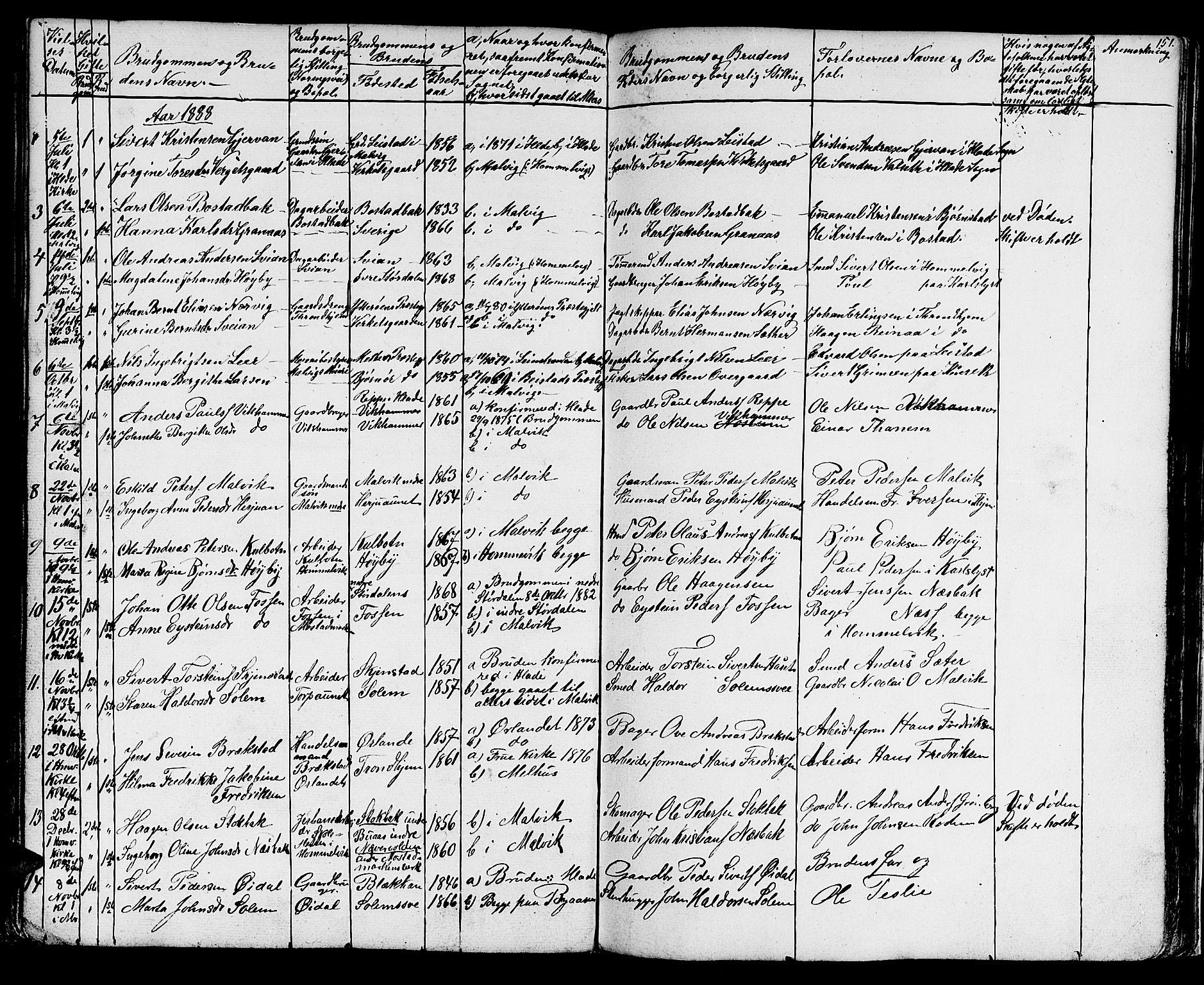 SAT, Ministerialprotokoller, klokkerbøker og fødselsregistre - Sør-Trøndelag, 616/L0422: Klokkerbok nr. 616C05, 1850-1888, s. 151