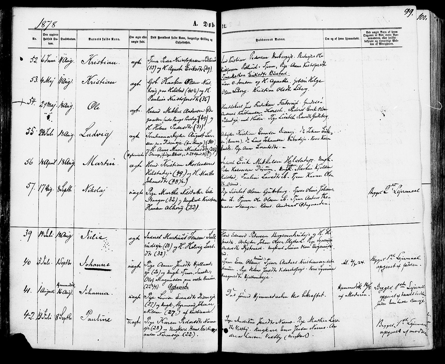 SAH, Vang prestekontor, Hedmark, H/Ha/Haa/L0015: Ministerialbok nr. 15, 1871-1885, s. 99