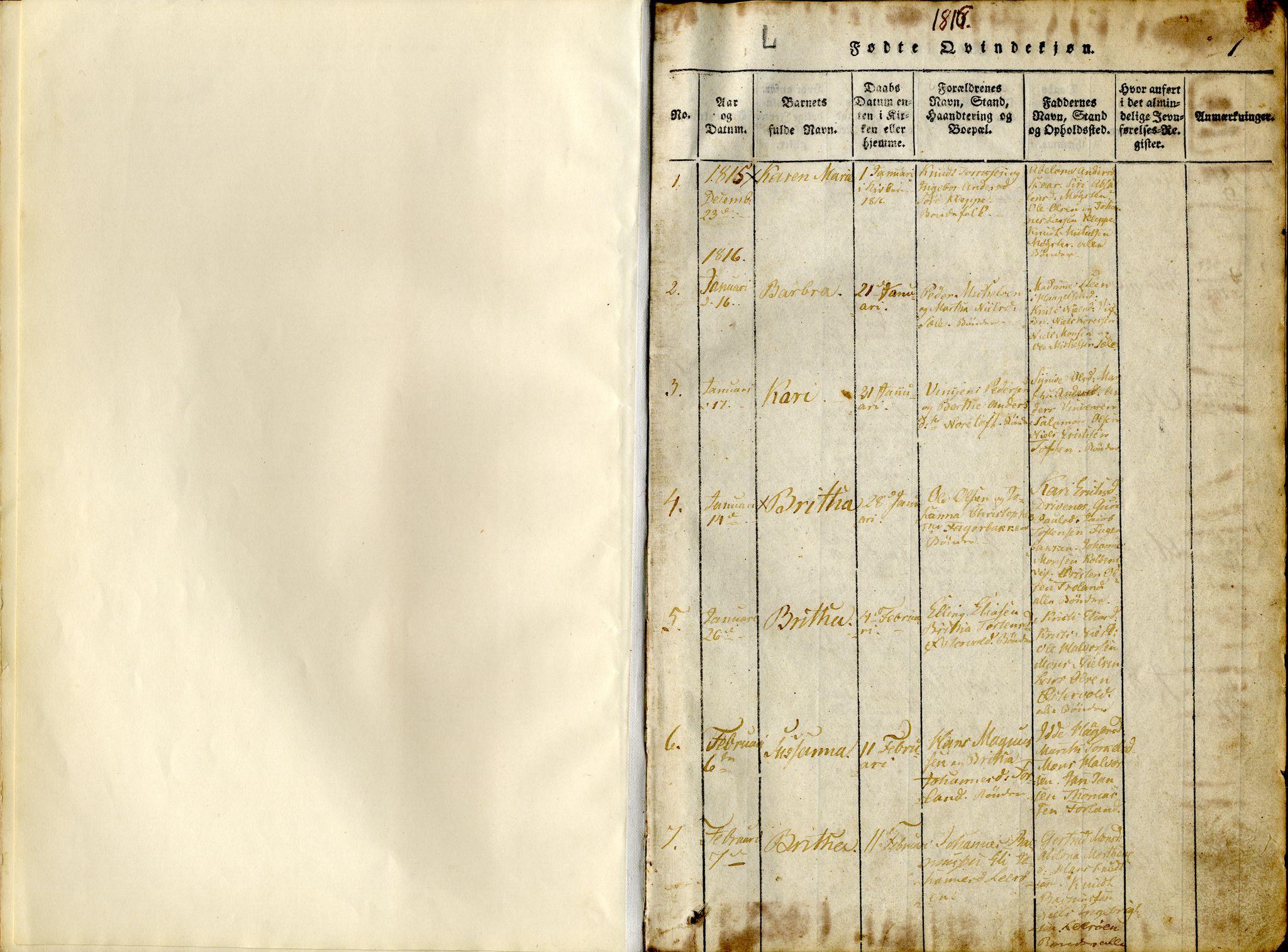 SAB, Sund sokneprestembete, Ministerialbok nr. A 11, 1814-1825, s. 1