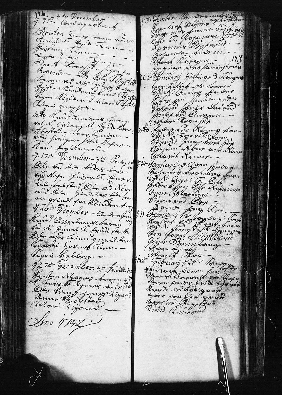 SAH, Fåberg prestekontor, Klokkerbok nr. 1, 1727-1767, s. 126-127