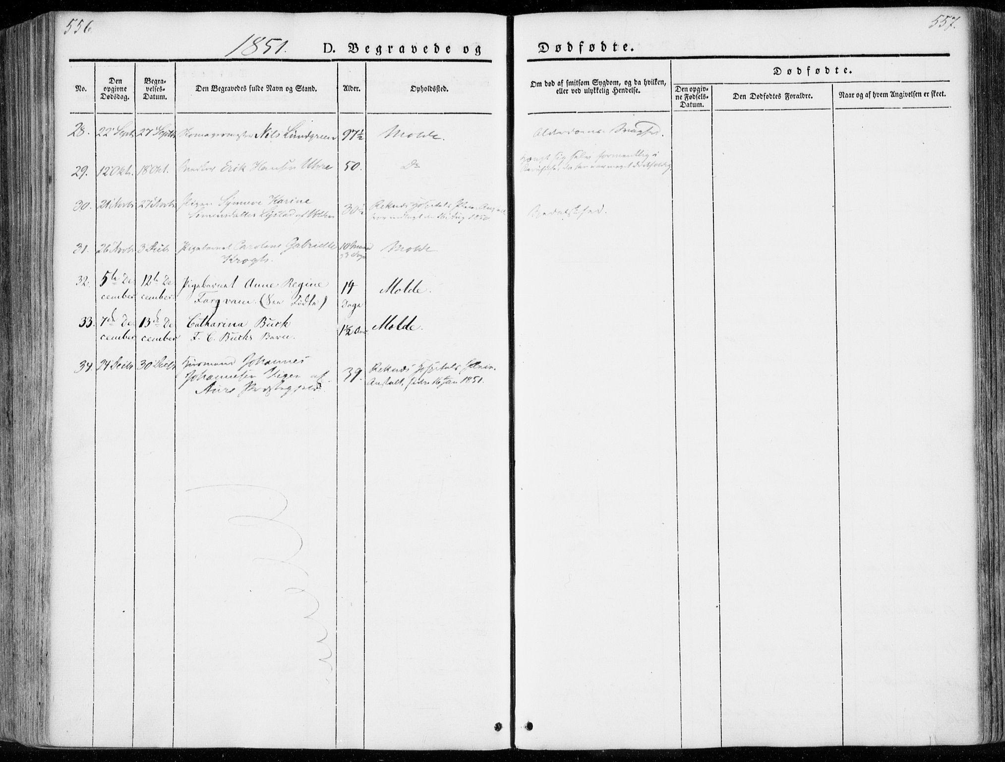 SAT, Ministerialprotokoller, klokkerbøker og fødselsregistre - Møre og Romsdal, 558/L0689: Ministerialbok nr. 558A03, 1843-1872, s. 556-557