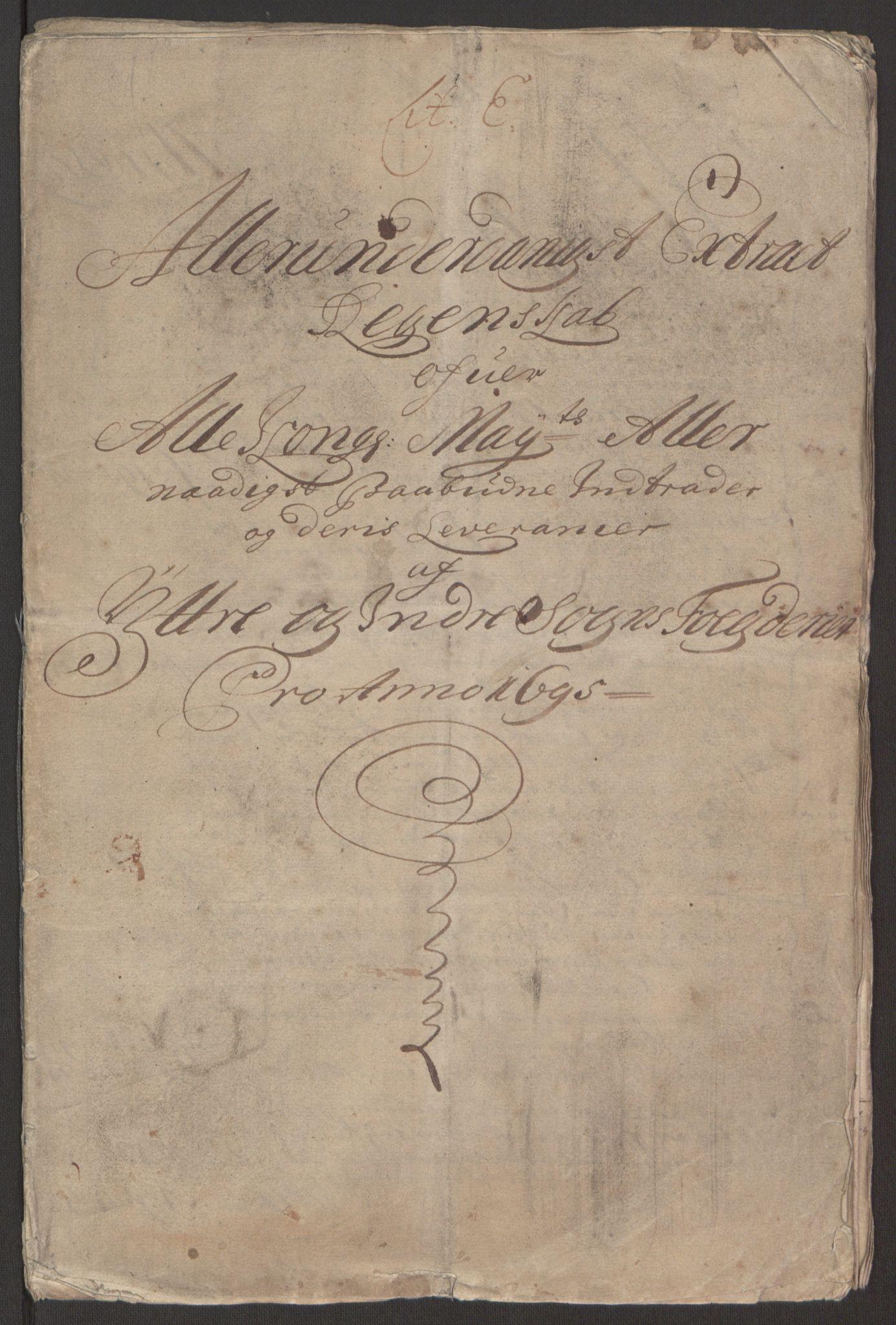 RA, Rentekammeret inntil 1814, Reviderte regnskaper, Fogderegnskap, R52/L3308: Fogderegnskap Sogn, 1695, s. 4