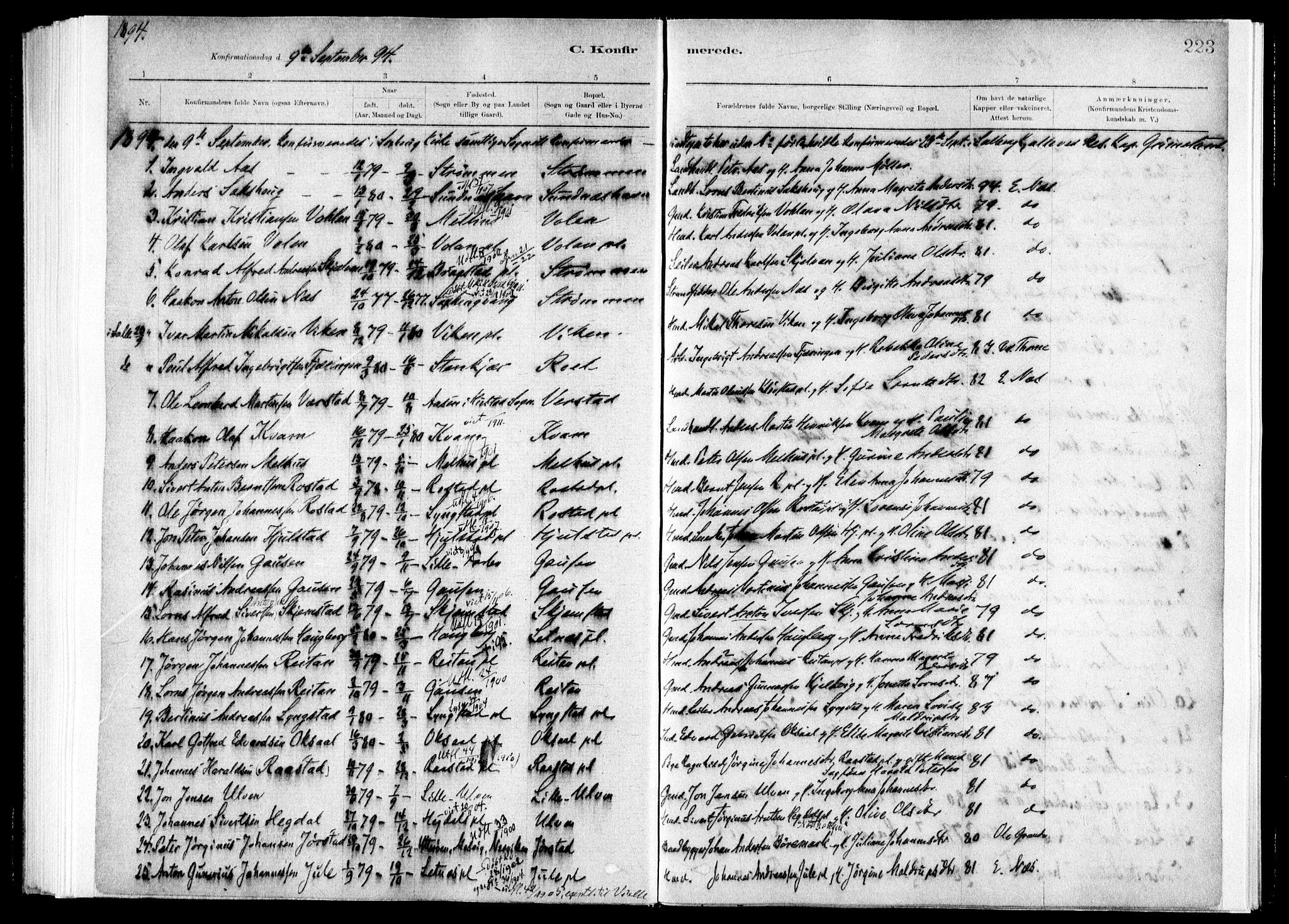 SAT, Ministerialprotokoller, klokkerbøker og fødselsregistre - Nord-Trøndelag, 730/L0285: Ministerialbok nr. 730A10, 1879-1914, s. 223