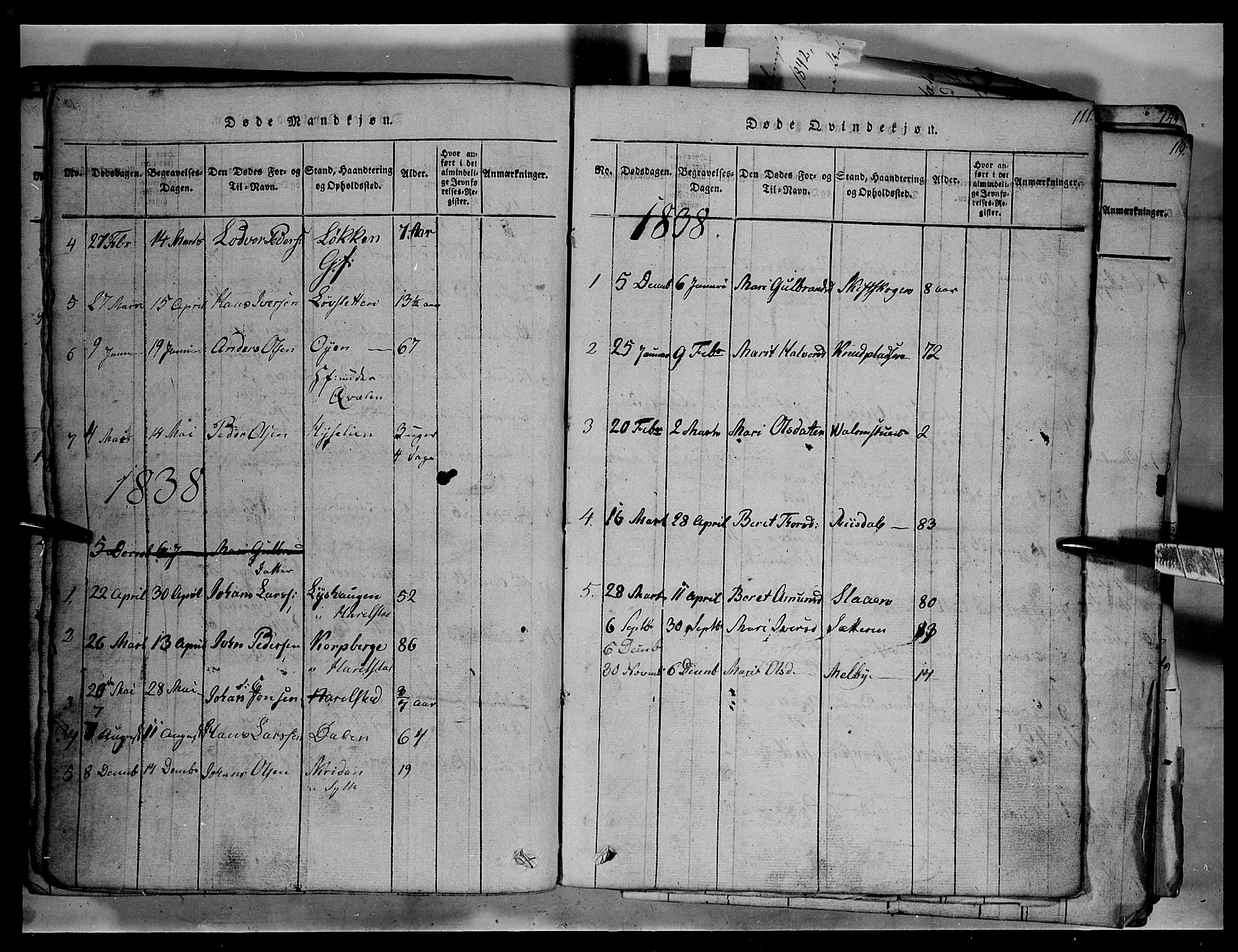 SAH, Fron prestekontor, H/Ha/Hab/L0003: Klokkerbok nr. 3, 1816-1850, s. 111