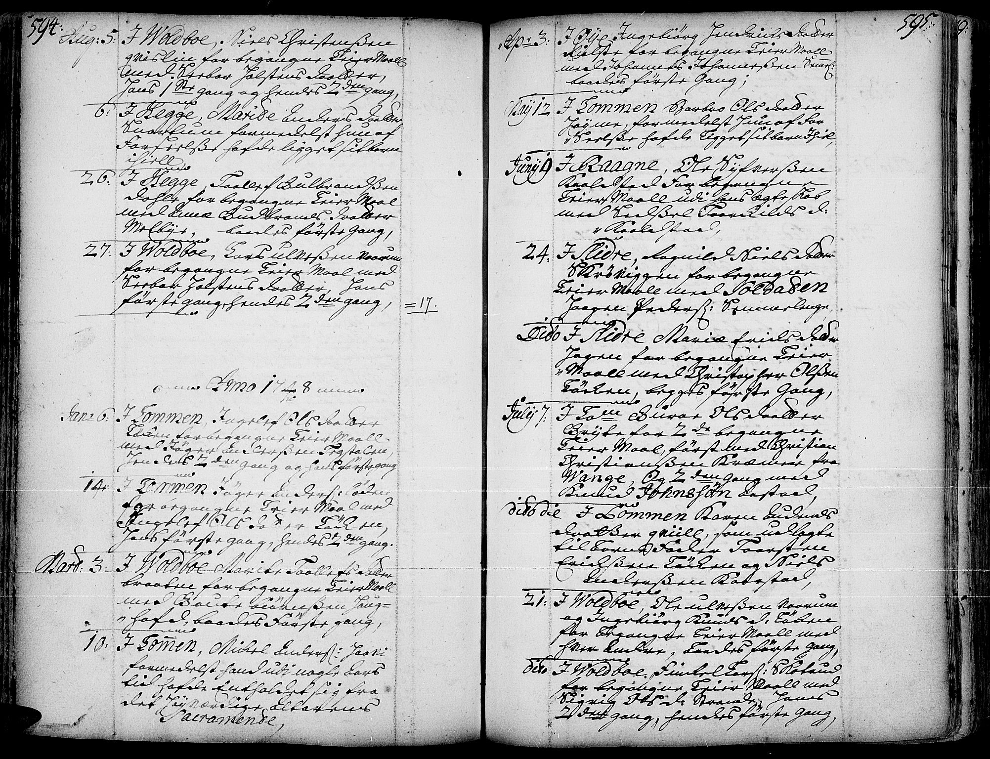 SAH, Slidre prestekontor, Ministerialbok nr. 1, 1724-1814, s. 594-595