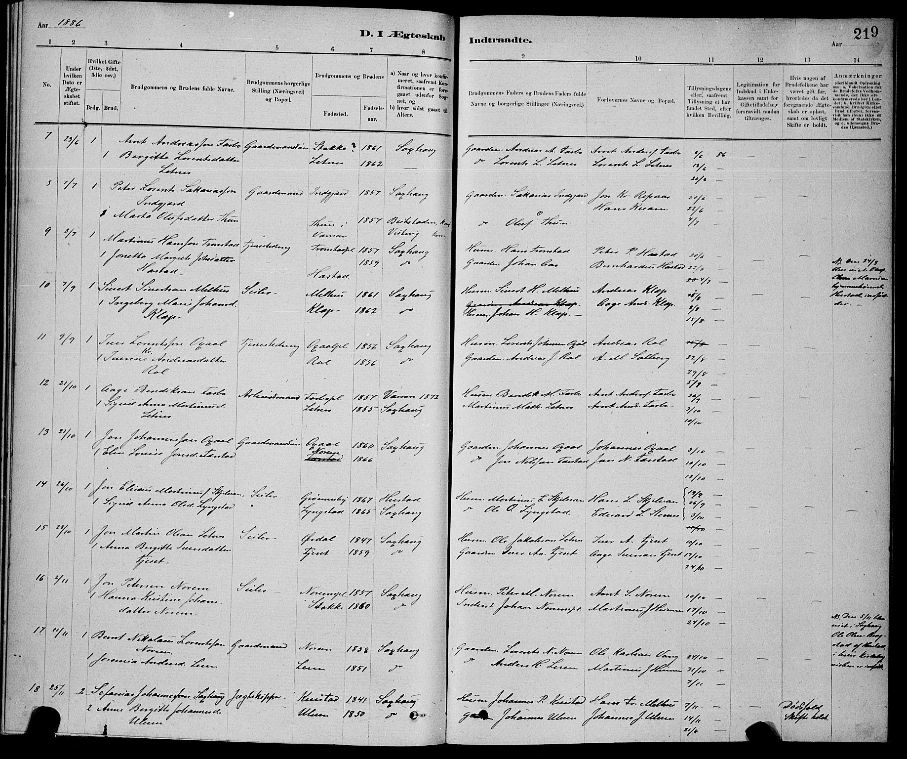 SAT, Ministerialprotokoller, klokkerbøker og fødselsregistre - Nord-Trøndelag, 730/L0301: Klokkerbok nr. 730C04, 1880-1897, s. 219