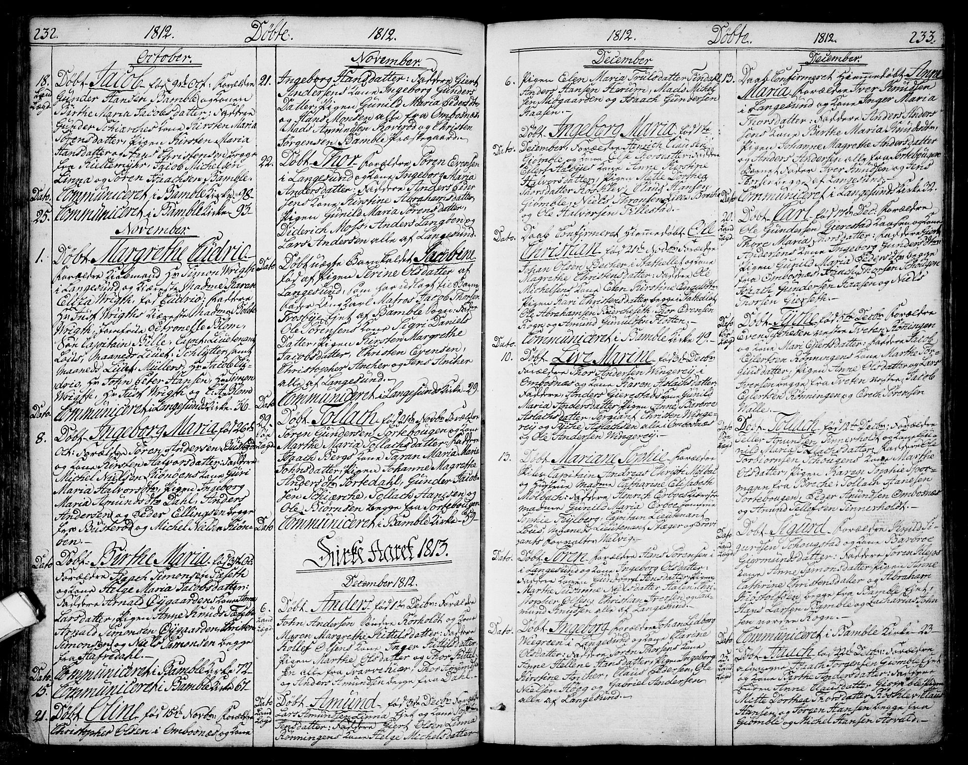 SAKO, Bamble kirkebøker, F/Fa/L0002: Ministerialbok nr. I 2, 1775-1814, s. 232-233