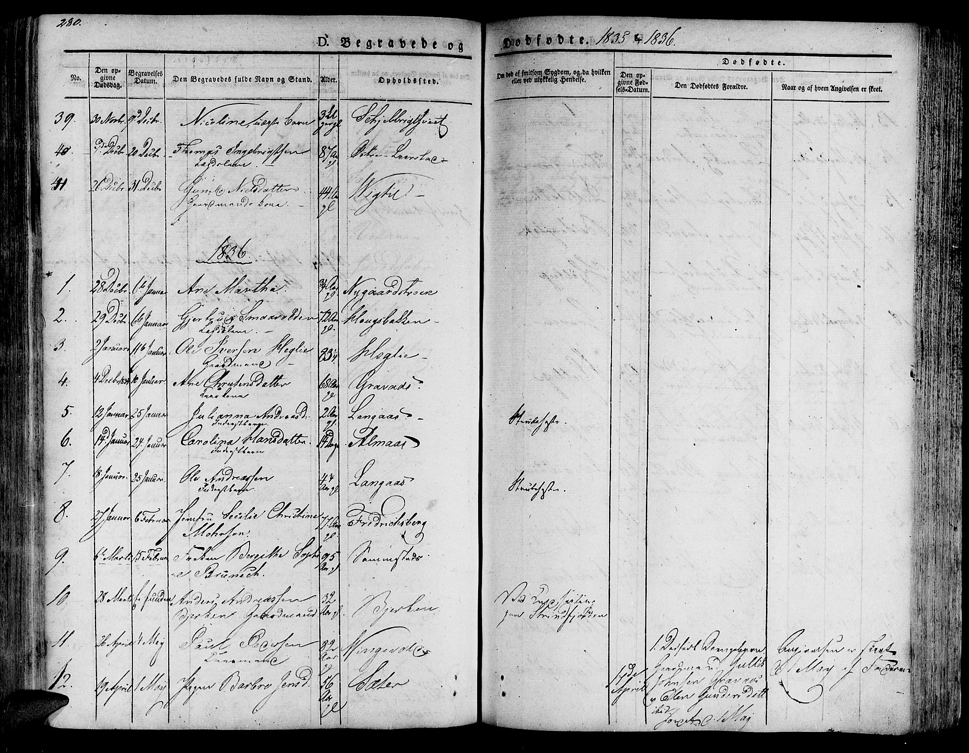 SAT, Ministerialprotokoller, klokkerbøker og fødselsregistre - Nord-Trøndelag, 701/L0006: Ministerialbok nr. 701A06, 1825-1841, s. 280
