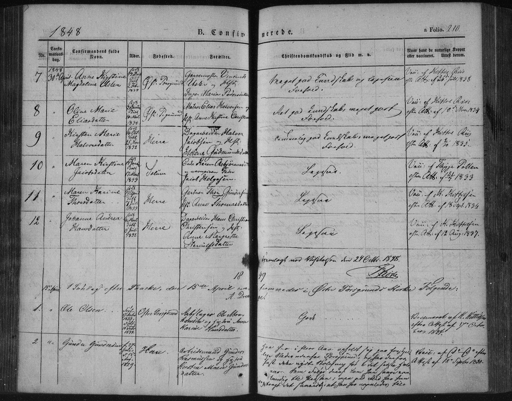 SAKO, Porsgrunn kirkebøker , F/Fa/L0006: Ministerialbok nr. 6, 1841-1857, s. 210