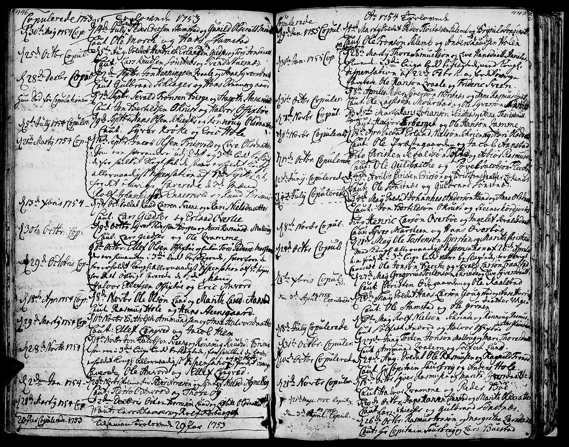 SAH, Lom prestekontor, K/L0002: Ministerialbok nr. 2, 1749-1801, s. 446-447