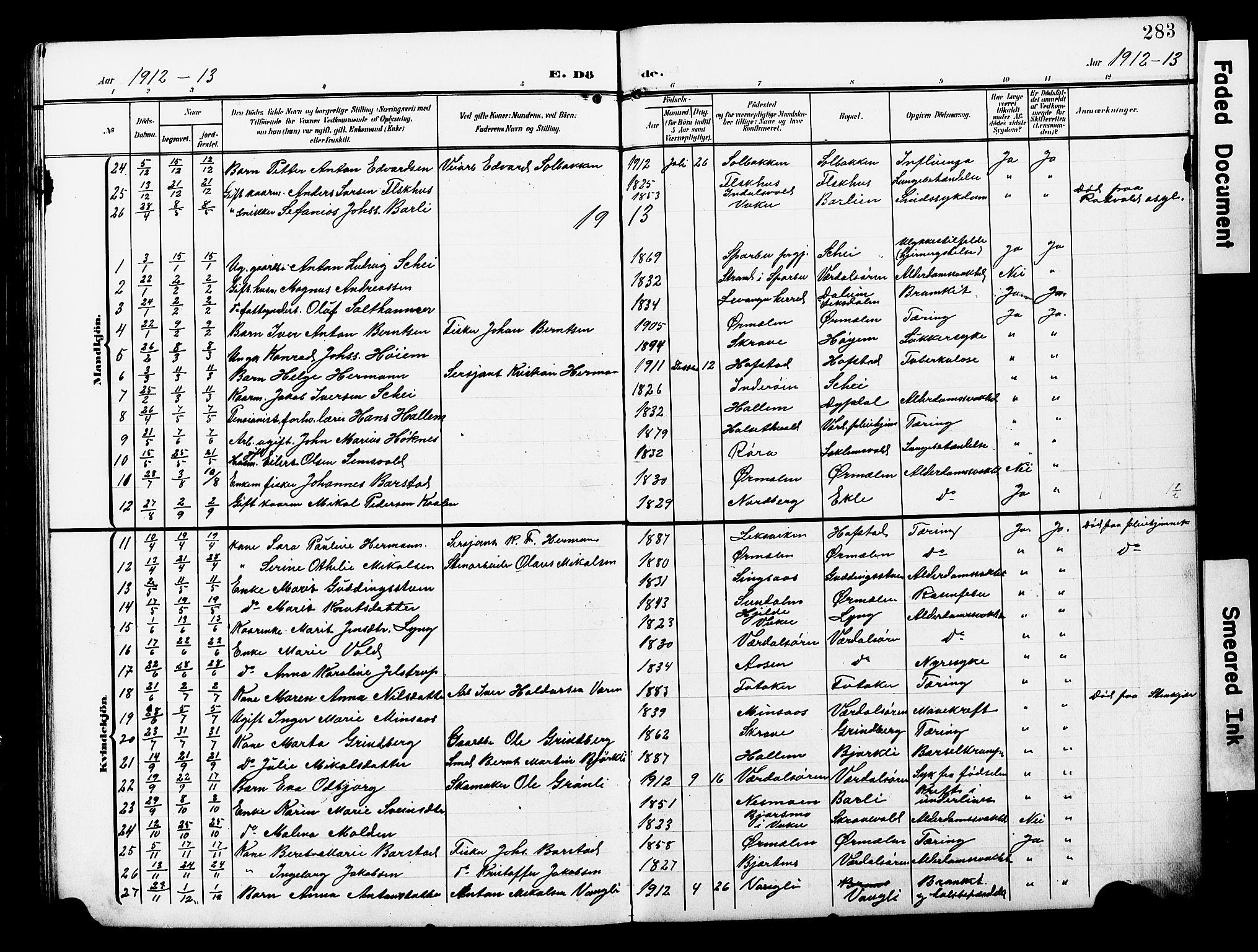 SAT, Ministerialprotokoller, klokkerbøker og fødselsregistre - Nord-Trøndelag, 723/L0258: Klokkerbok nr. 723C06, 1908-1927, s. 283