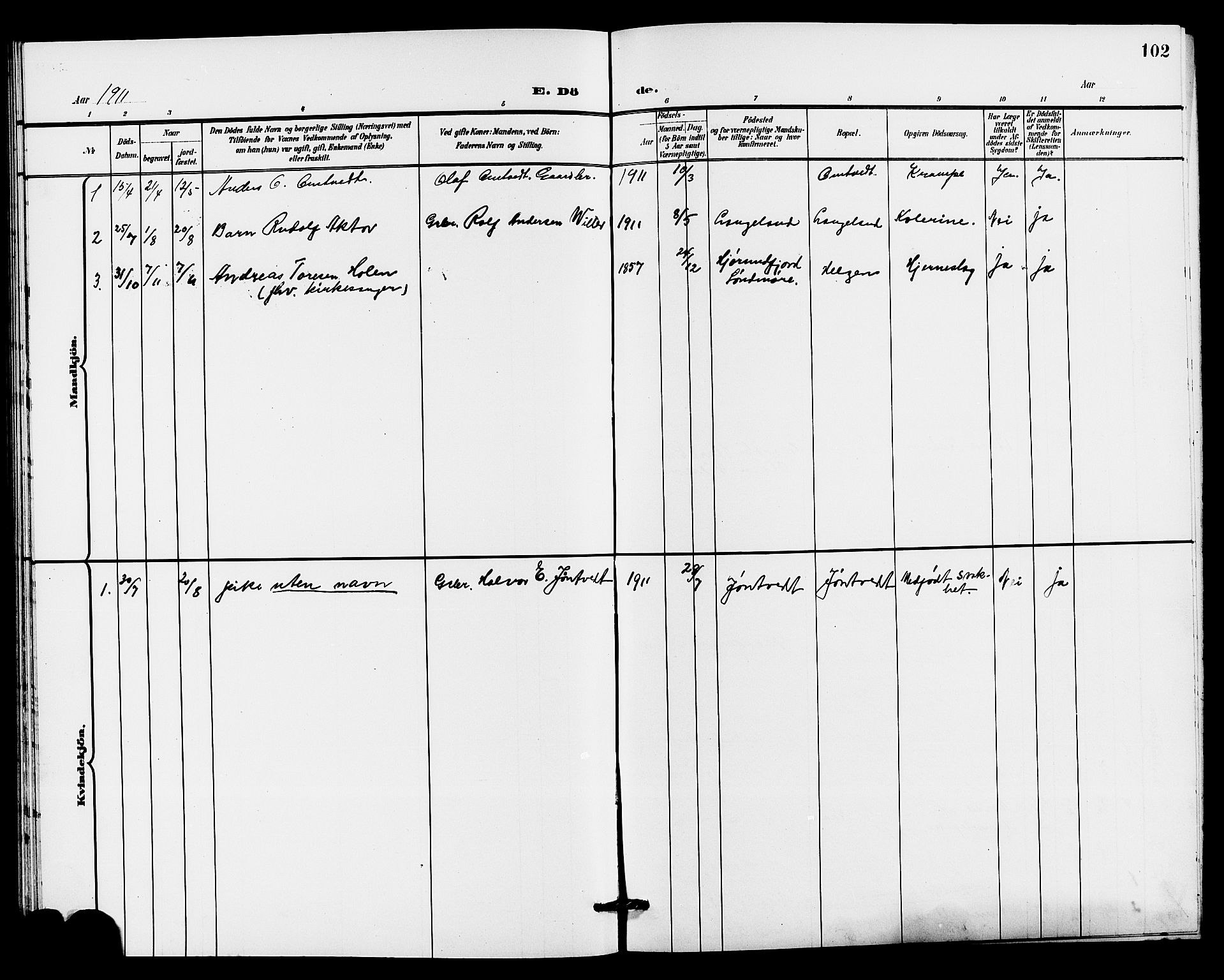 SAKO, Holla kirkebøker, G/Gb/L0002: Klokkerbok nr. II 2, 1897-1913, s. 102