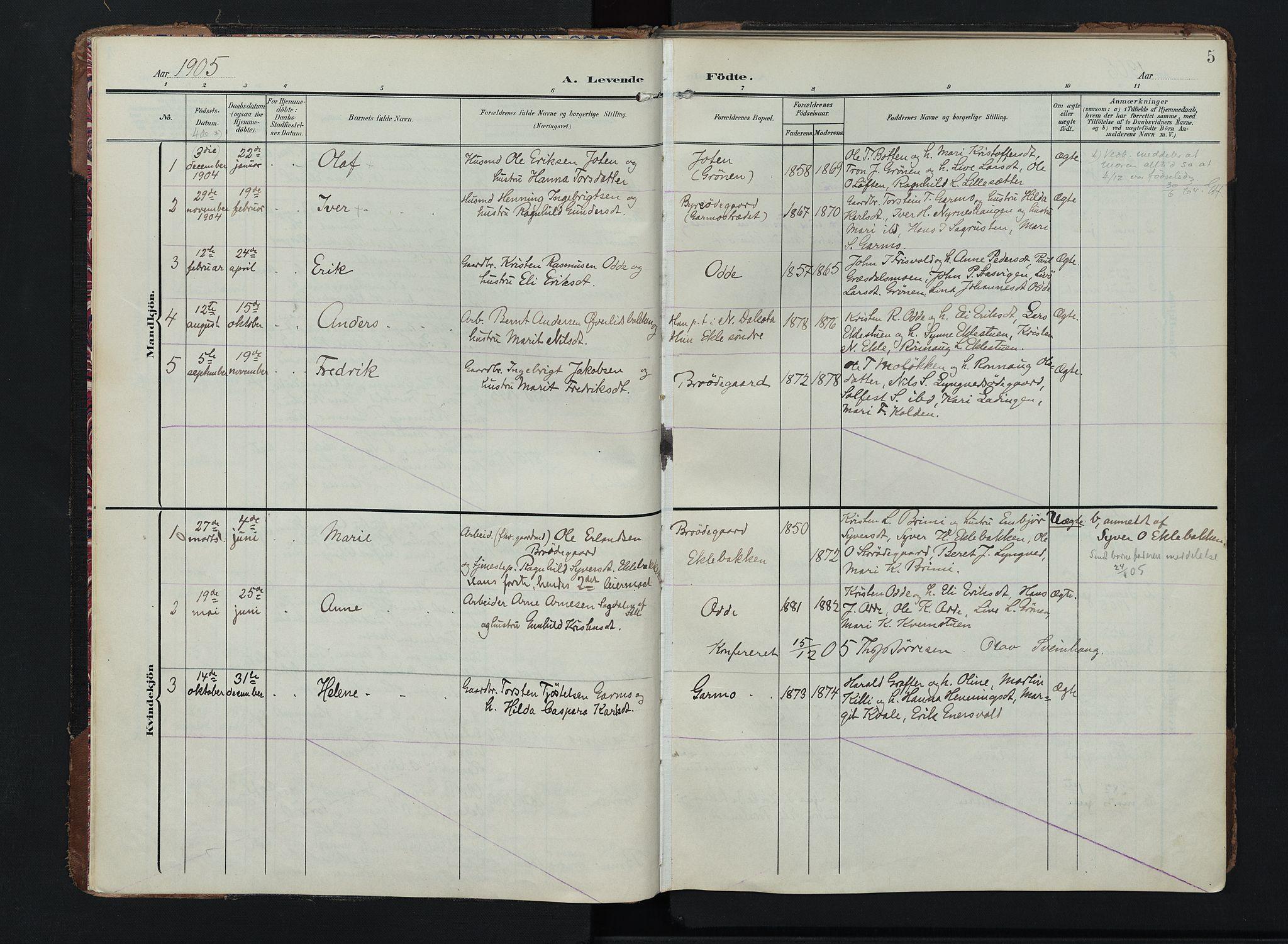 SAH, Lom prestekontor, K/L0011: Ministerialbok nr. 11, 1904-1928, s. 5