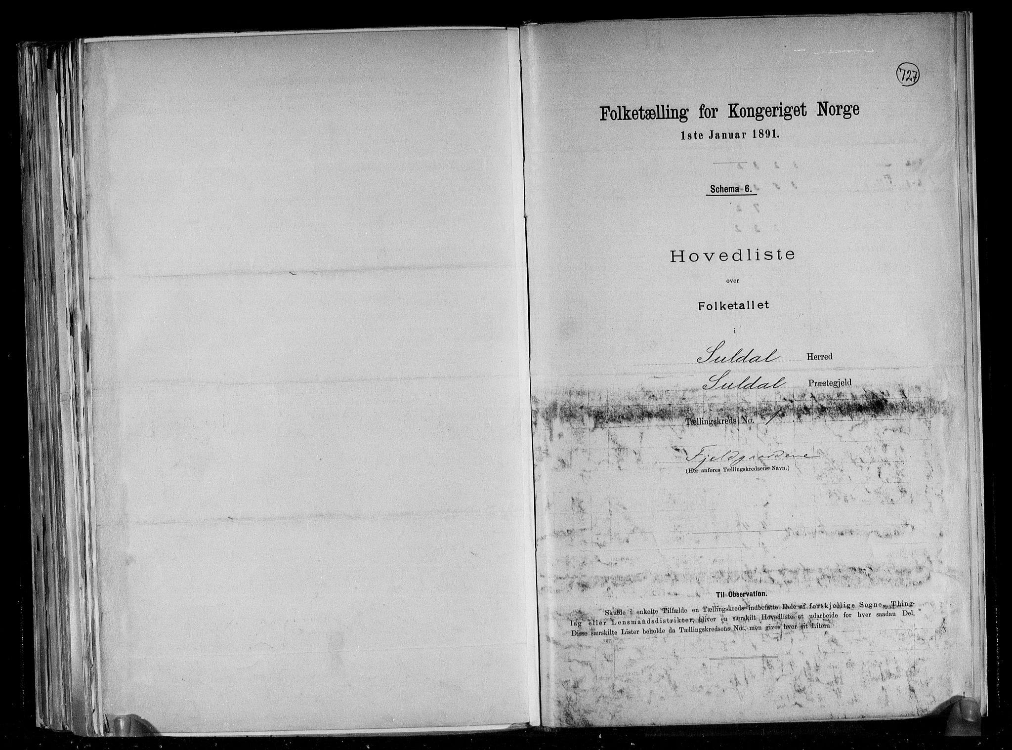 RA, Folketelling 1891 for 1134 Suldal herred, 1891, s. 4