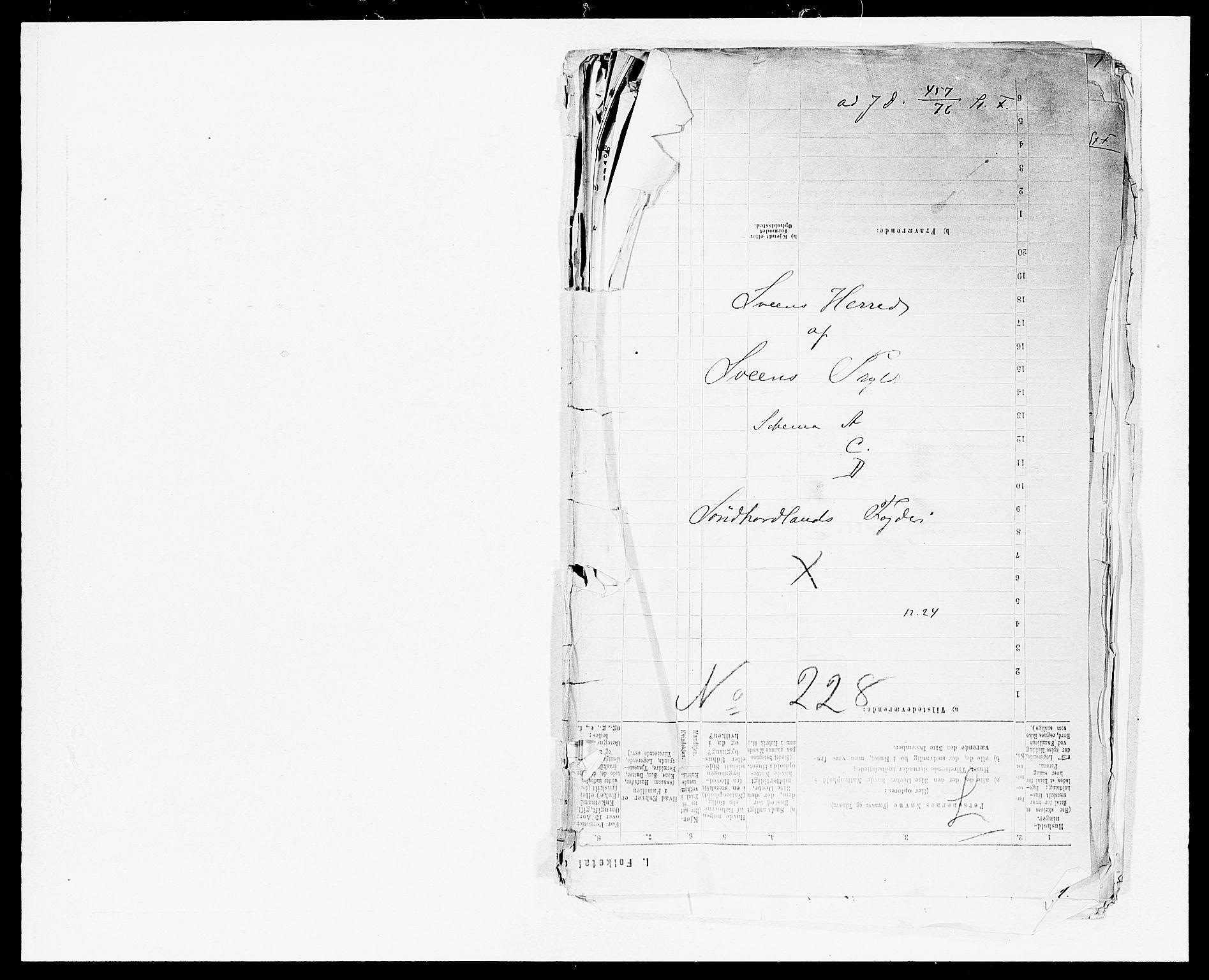 SAB, Folketelling 1875 for 1216P Sveio prestegjeld, 1875, s. 1