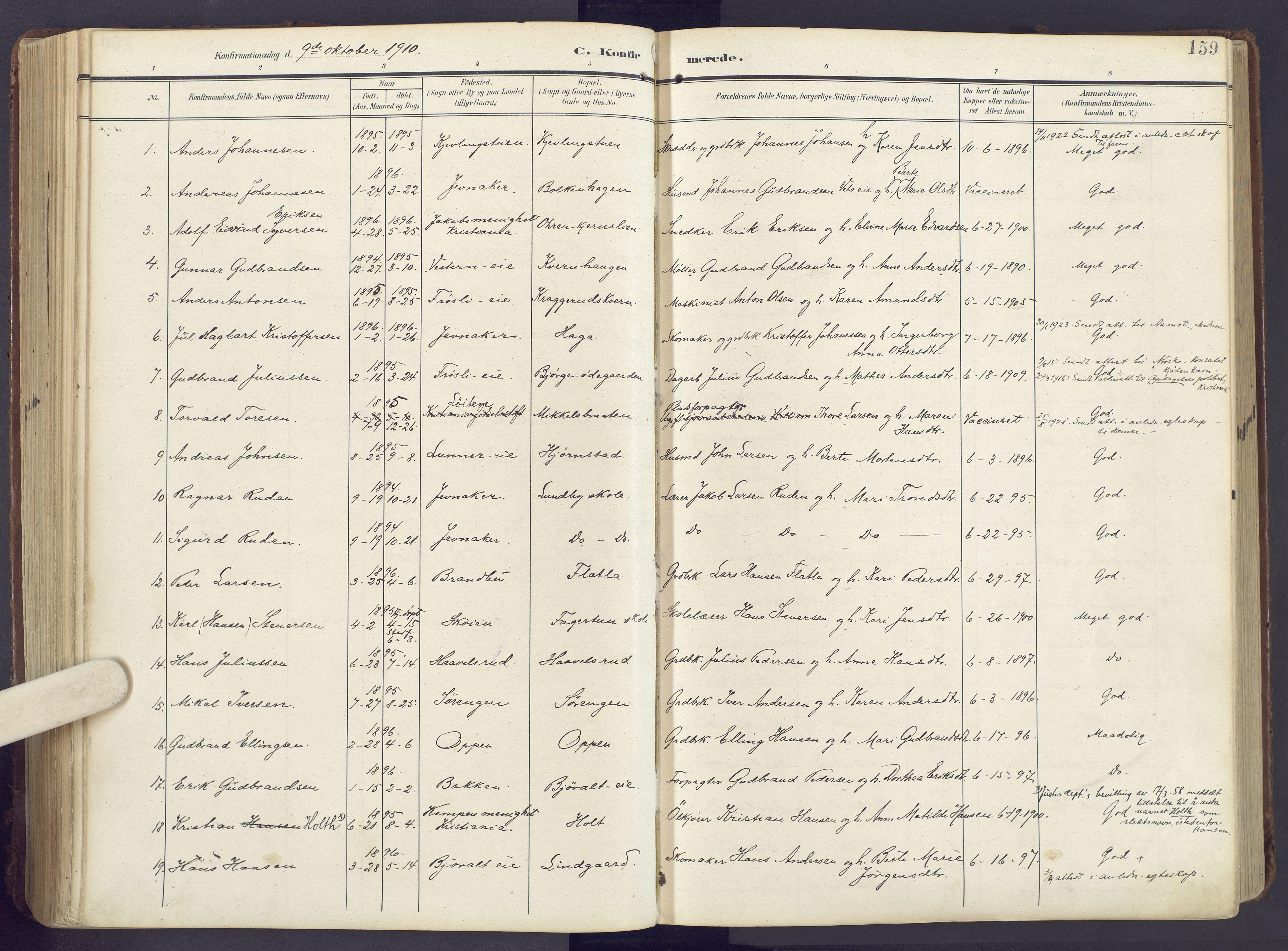 SAH, Lunner prestekontor, H/Ha/Haa/L0001: Ministerialbok nr. 1, 1907-1922, s. 159