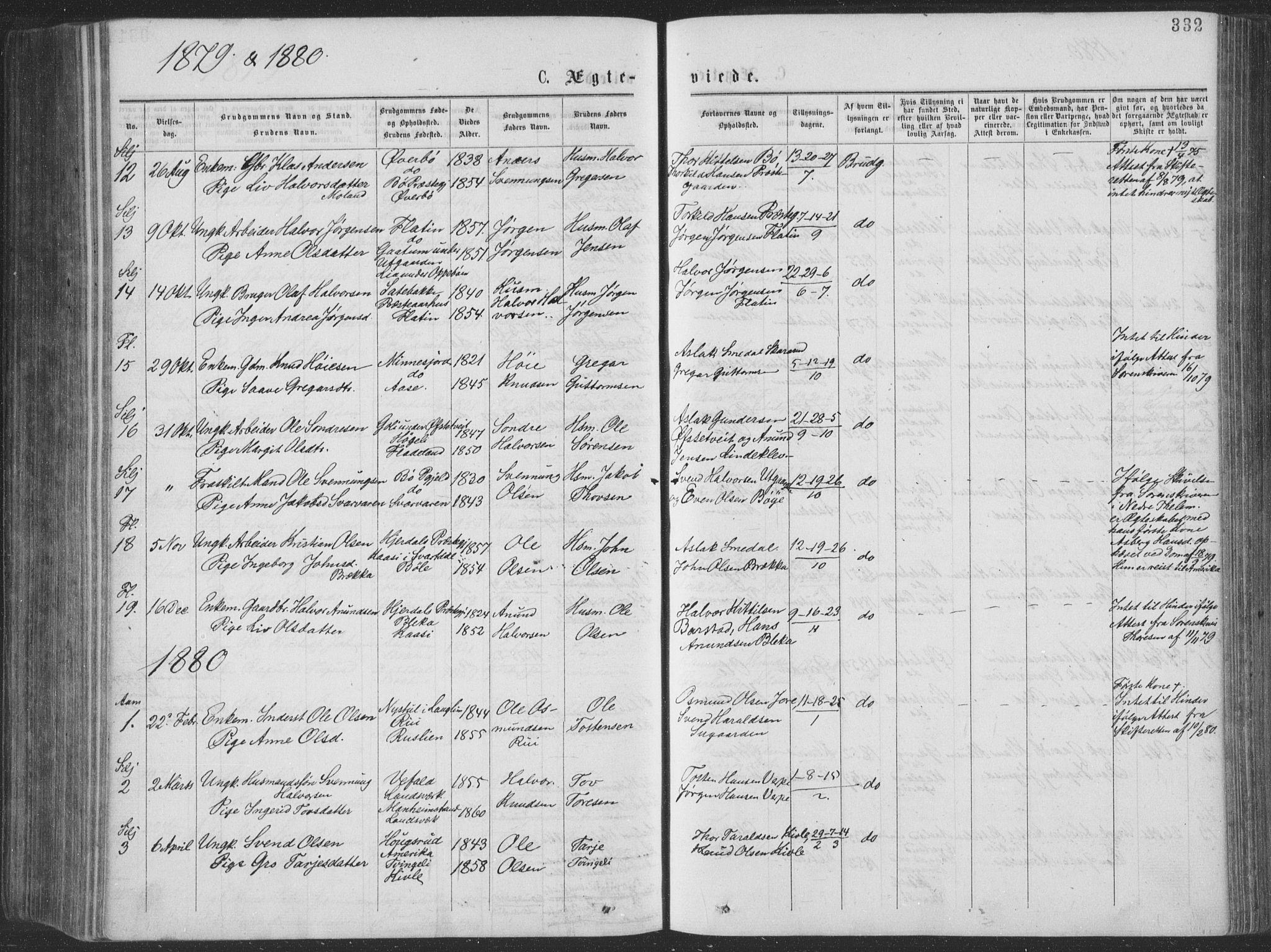 SAKO, Seljord kirkebøker, F/Fa/L0014: Ministerialbok nr. I 14, 1877-1886, s. 332