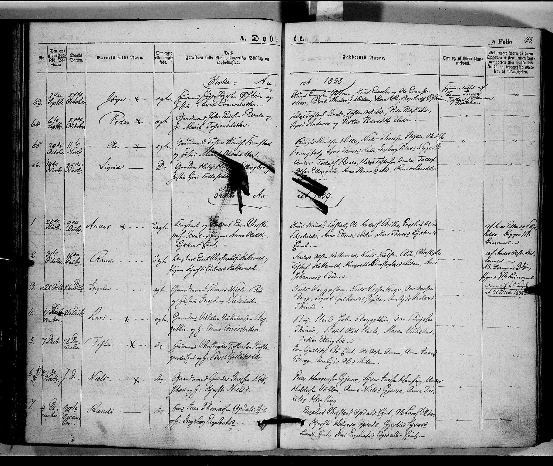SAH, Vang prestekontor, Valdres, Ministerialbok nr. 5, 1831-1845, s. 33
