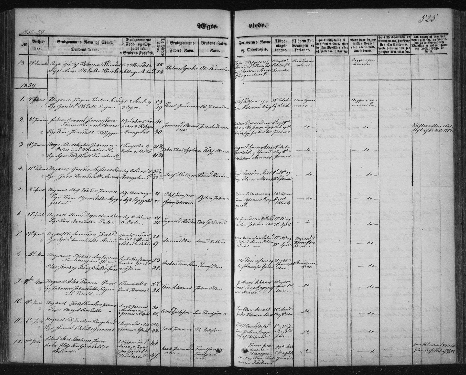 SAKO, Nissedal kirkebøker, F/Fa/L0003: Ministerialbok nr. I 3, 1846-1870, s. 524-525