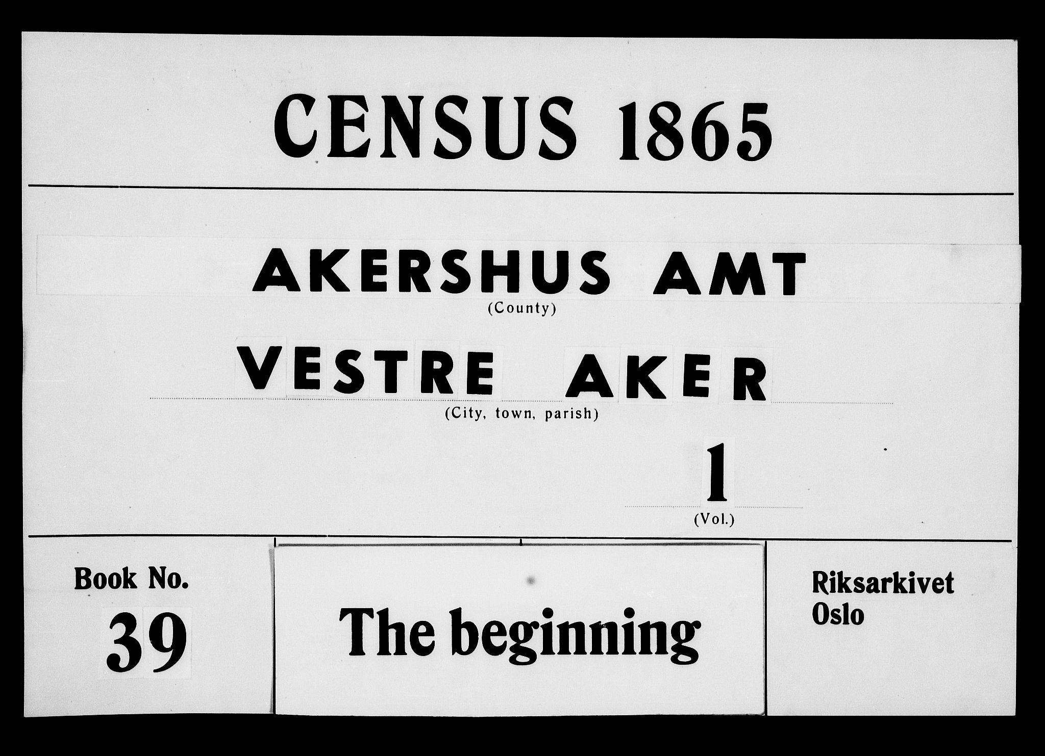 RA, Folketelling 1865 for 0218aP Vestre Aker prestegjeld, 1865, s. 1