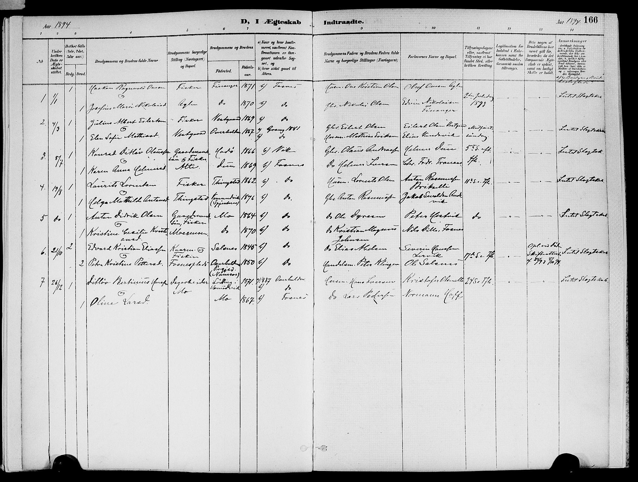 SAT, Ministerialprotokoller, klokkerbøker og fødselsregistre - Nord-Trøndelag, 773/L0617: Ministerialbok nr. 773A08, 1887-1910, s. 166